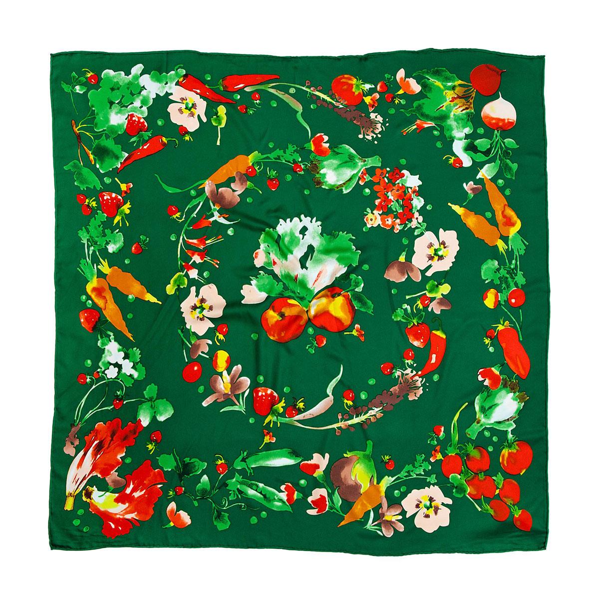 Платок23/0245/243Яркий и стильный платок Модные истории станет великолепным завершением любого наряда. Платок изготовлен из высококачественного полиэстера. Он оформлен красочным принтом в виде овощей, ягод и цветов. Классическая квадратная форма позволяет носить его на шее, украшать прическу или декорировать сумочку. Мягкий и шелковистый платок поможет вам создать оригинальный женственный образ. Такой платок превосходно дополнит любой наряд и подчеркнет ваш неповторимый вкус и элегантность.