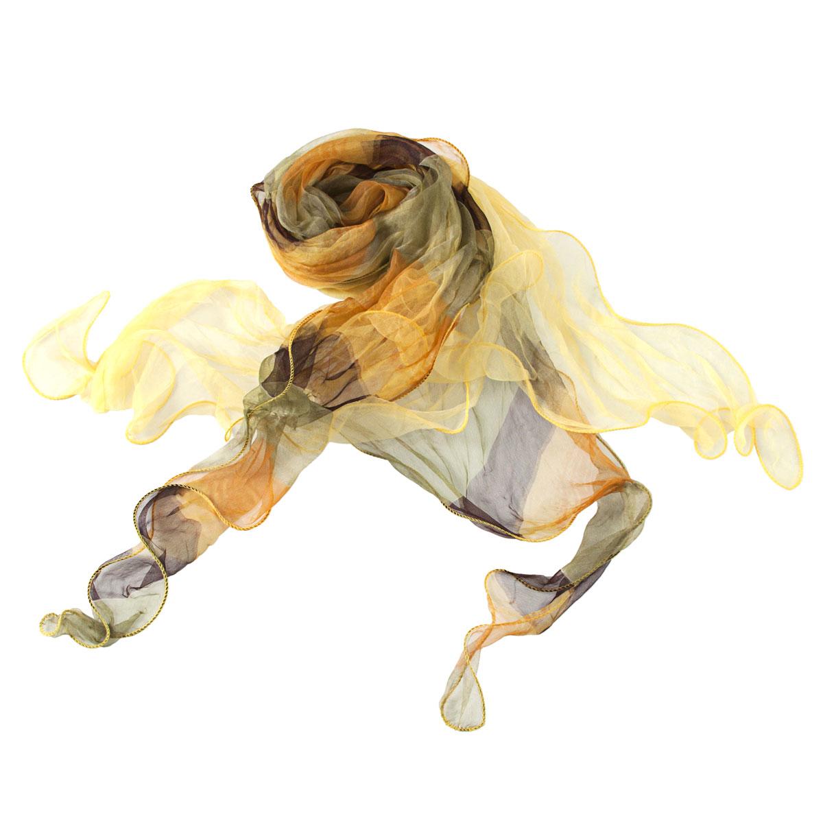 Шарф21/0044/619Модный женский шарф Модные истории станет нарядным аксессуаром, который призван подчеркнуть вашу индивидуальность и очарование. Шарф выполнен из шелка и состоит из двух деталей, соединенных в центре и разделяющихся к краям. Он оформлен принтом с широкими полосками, а оригинальные волнистые края придают шарфу воздушность и легкость. Этот модный аксессуар гармонично дополнит образ современной женщины, следящей за своим имиджем и стремящейся всегда оставаться стильной и элегантной. Такой шарф украсит любой наряд, с ним вы всегда будете выглядеть изысканно и оригинально.