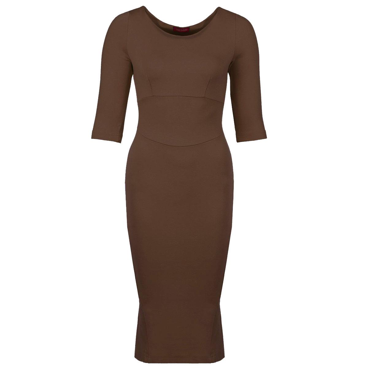ПлатьеP08D-CСтильное платье от Анны Чапман выполнено из плотного трикотажного материала. Модель приталенного силуэта с круглым вырезом горловины, отрезной талией с широким поясом и рукавами до локтя. Юбка-карандаш облегающего кроя сзади дополнена декоративным воланом. Модное платье лаконичного дизайна органично впишется в повседневный гардероб.