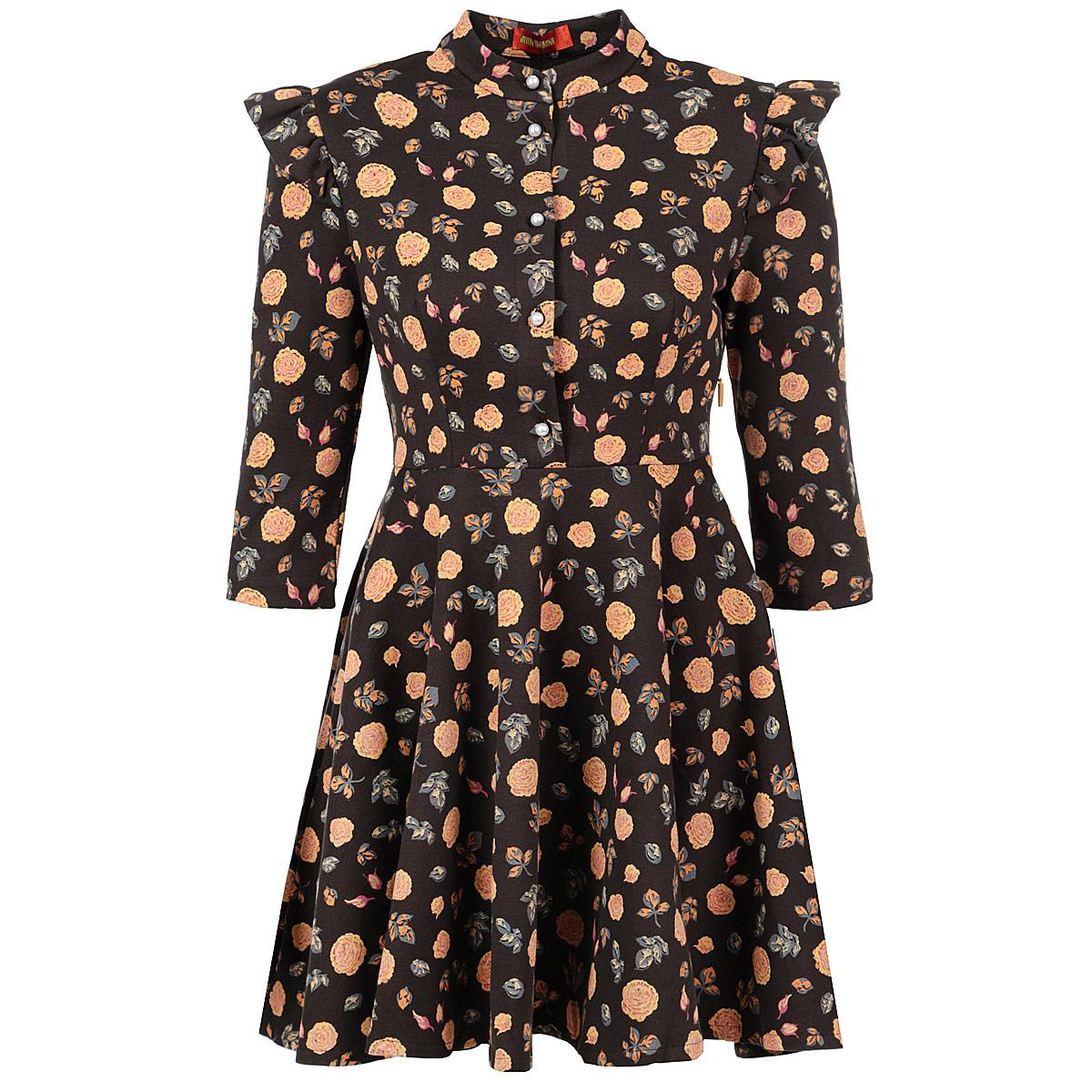 ПлатьеP63T-23Стильное платье от Анны Чапман выполнено из плотного хлопкового материала с цветочным принтом. Модель приталенного силуэта с воротником-стойкой, отрезной талией и рукавами до локтя. На груди платье застегивается на пуговицы. Сбоку предусмотрена потайная молния. Расклешенная юбка ложится объемными складками. Плечи оформлены декоративными крылышками. Модное платье органично впишется в ваш гардероб. Оно поможет создать женственный образ, который, несомненно, оценят окружающие.