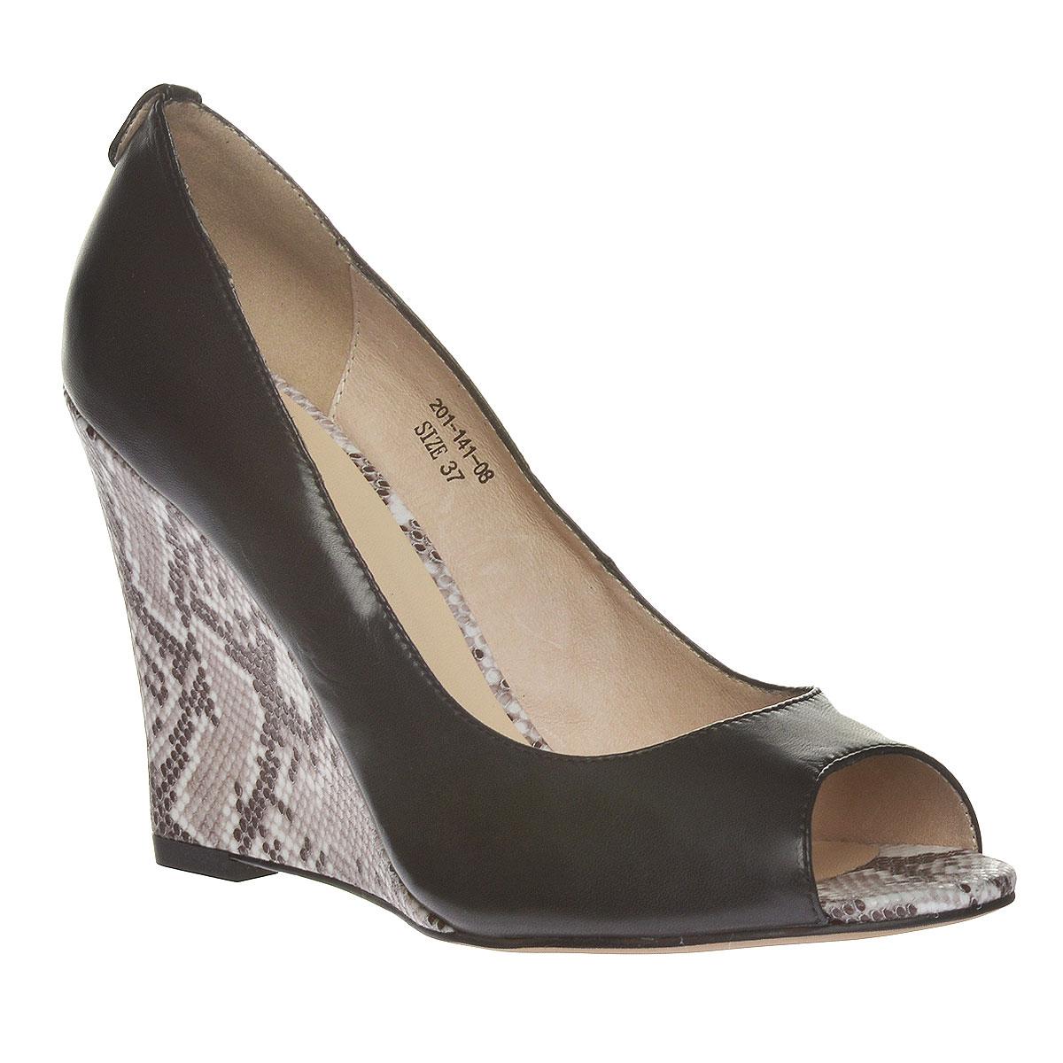 Туфли женские. 201-141-0201-141-08Роскошные туфли от Dino Ricci - незаменимая вещь в гардеробе настоящей модницы. Модель выполнена из высококачественной натуральной кожи. Открытый носок добавляет женственные нотки в образ. Мягкая стелька из натуральной кожи обеспечивает комфорт и удобство при ходьбе. Высокая танкетка оформлена узором, имитирующим змеиную чешую. Рифленая поверхность подошвы защищает изделие от скольжения. Трендовые туфли помогут вам создать яркий, запоминающийся образ.