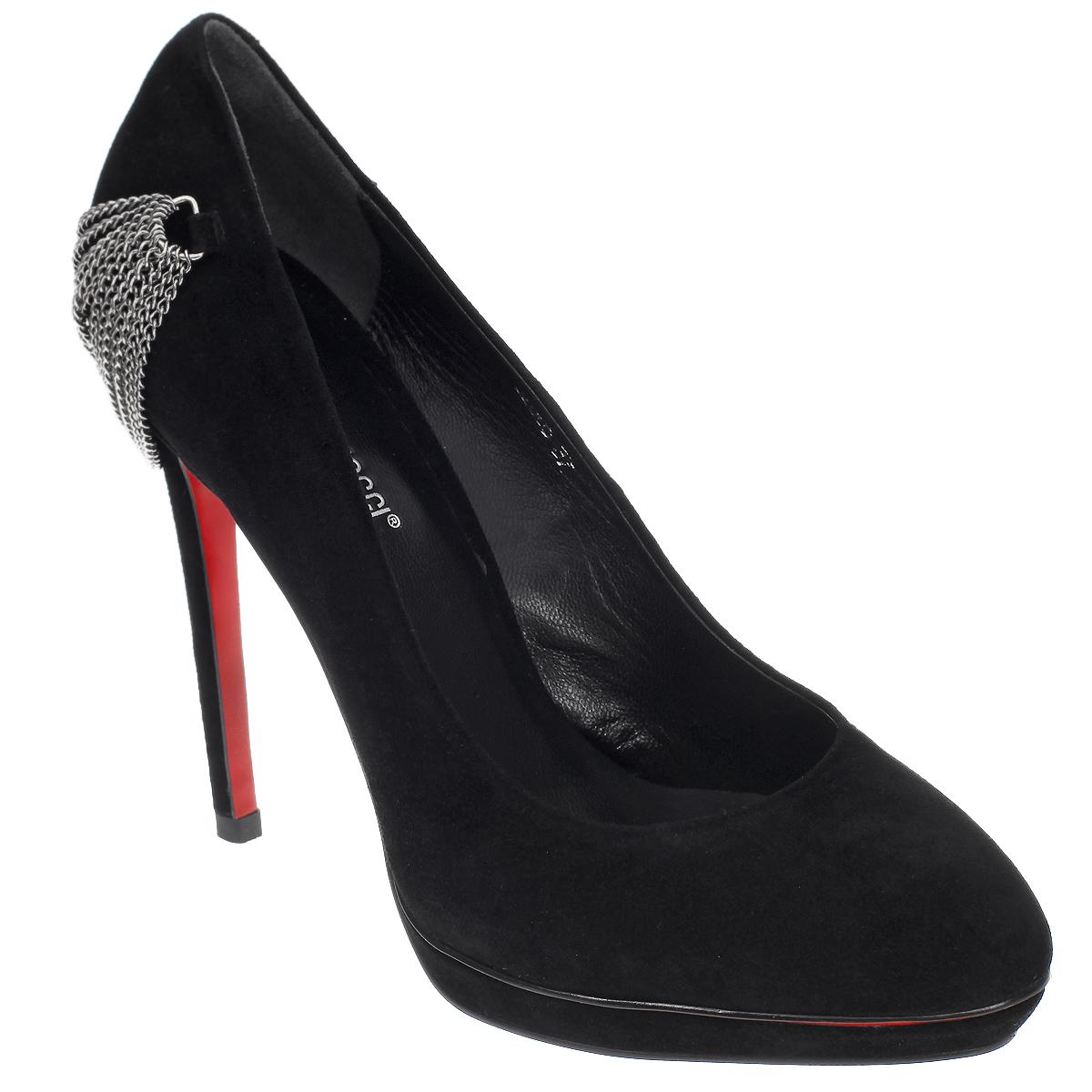 Туфли женские. 5280552805Ультрамодные женские туфли от Antonio Biaggi покорят вас с первого взгляда. Модель выполнена из натуральной замши. Задник декорирован металлическими цепями, пропущенными через фурнитуру. Стелька из натуральной кожи обеспечивает комфорт при ходьбе. Ультравысокий каблук-шпилька компенсирован платформой. Прочная резиновая подошва оформлена противоскользящим рифлением. Изысканные туфли добавят шика в модный образ и подчеркнут ваш безупречный вкус.
