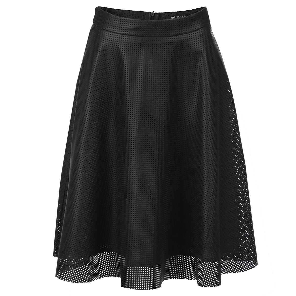 ЮбкаSSD0777CAСтильная юбка Troll изготовлена из полиуретана и оформлена декоративной перфорацией. Юбка на подкладке из полиэстера. Модель расклешенного кроя с широким поясом на талии. Сзади застегивается на потайную молнию. Эта модная юбка - отличный вариант на каждый день. Она займет достойное место в вашем гардеробе.