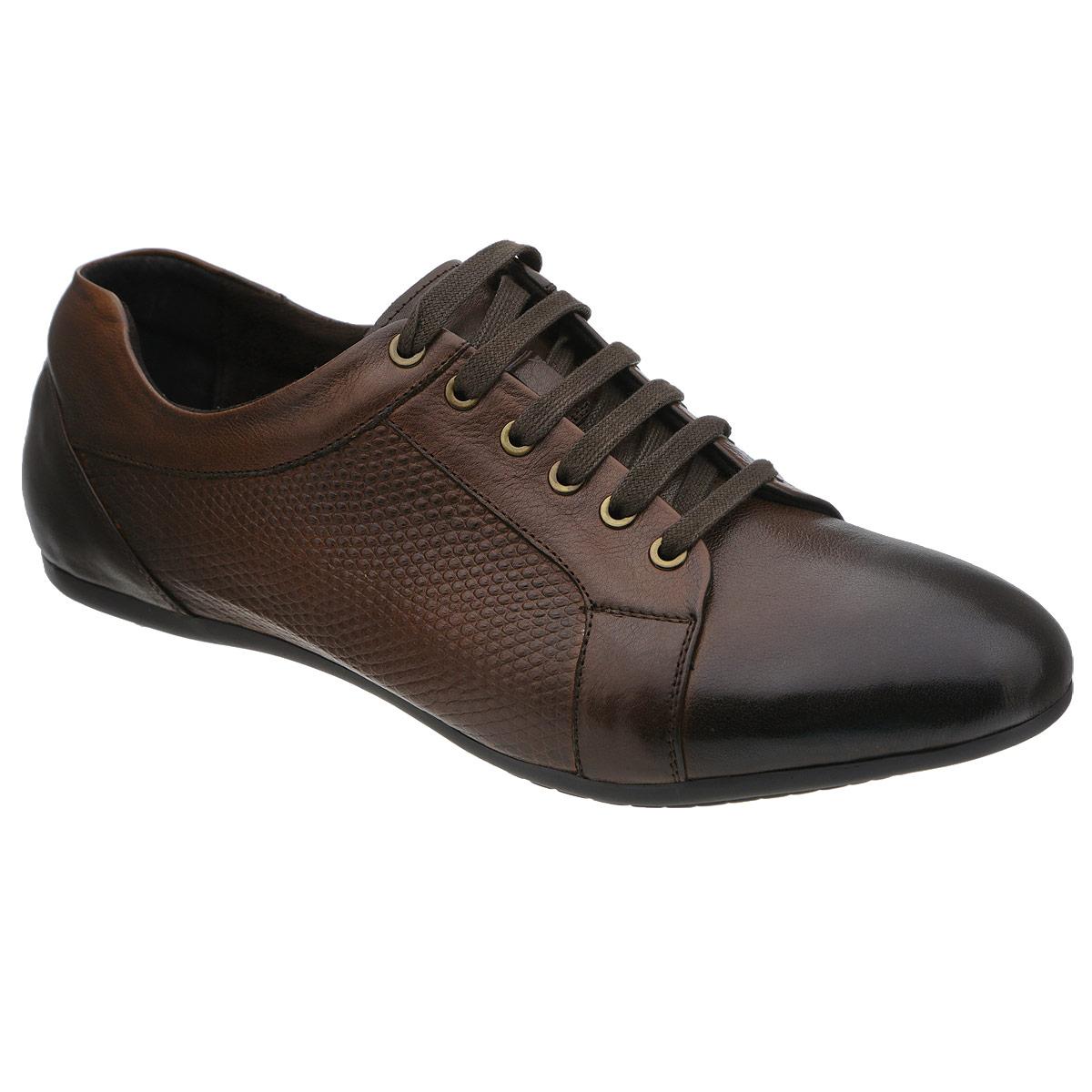 Полуботинки мужские. 104-164104-164-39Стильные мужские полуботинки от Dino Ricci не оставят вас равнодушным! Модель выполнена из натуральной высококачественной кожи и сбоку декорирована тиснением под рептилию. Шнуровка позволяет прочно зафиксировать обувь на ноге. Стелька из натуральной кожи оснащена перфорацией, позволяющей вашим ногам дышать. Прочная резиновая подошва дополнена противоскользящим рифлением. Модные полуботинки прекрасно впишутся в ваш гардероб.