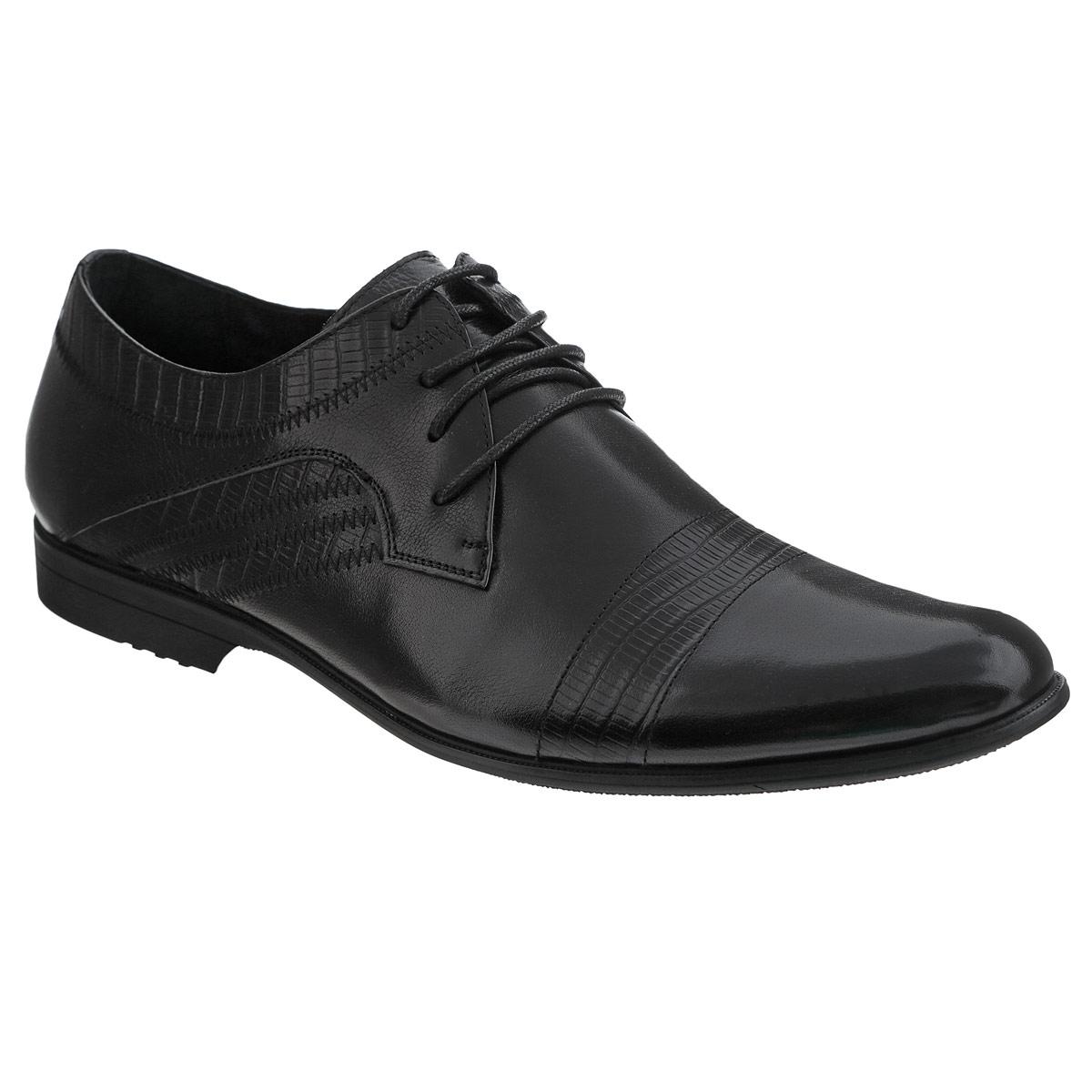 Туфли мужские. 104-139-51104-139-51Элегантные мужские туфли от Dino Ricci займут достойное место среди вашей коллекции обуви. Модель выполнена из натуральной высококачественной кожи и декорирована тиснением под рептилию сбоку, на мысе и заднике. Шнуровка позволяет прочно зафиксировать модель на ноге. Стелька из натуральной кожи оснащена перфорацией, позволяющей вашим ногам дышать. Каблук и подошва с рифлением обеспечивают отличное сцепление с любыми поверхностями. Стильные туфли прекрасно дополнят ваш деловой образ.