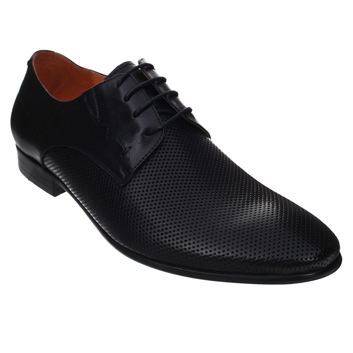 Туфли мужские. 516551657Элегантные мужские туфли от Antonio Biaggi отлично дополнят ваш деловой образ. Модель выполнена из высококачественной натуральной кожи и оформлена перфорацией. Резинки, расположенные на подъеме, гарантируют оптимальную посадку модели на ноге. Шнуровка надежно закрепит модель на ноге. Стелька из мягкой натуральной кожи с супинатором обеспечивает максимальный комфорт при движении. Умеренной высоты каблук и подошва с рифлением обеспечивают отличное сцепление с поверхностью. Стильные туфли займут достойное место среди вашей коллекции обуви.