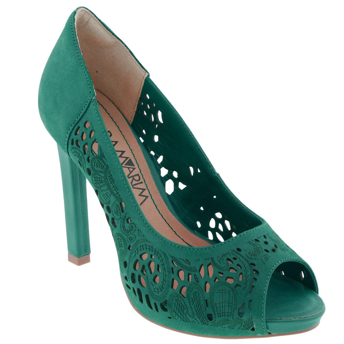 Туфли женские. 14-2220414-22204Модные туфли от Ramarim эффектно дополнят ваш летний образ. Модель выполнена из натуральной кожи и оформлена тисненым цветочным узором. Перфорация обеспечивает отличную вентиляцию, позволяет вашим ногам дышать. Открытый носок смотрится невероятно элегантно. Мягкая стелька из натуральной кожи комфортна при ходьбе. Высокий каблук компенсирован платформой. Рифленая поверхность подошвы защищает изделие от скольжения. Стильные туфли не оставят равнодушной настоящую модницу!
