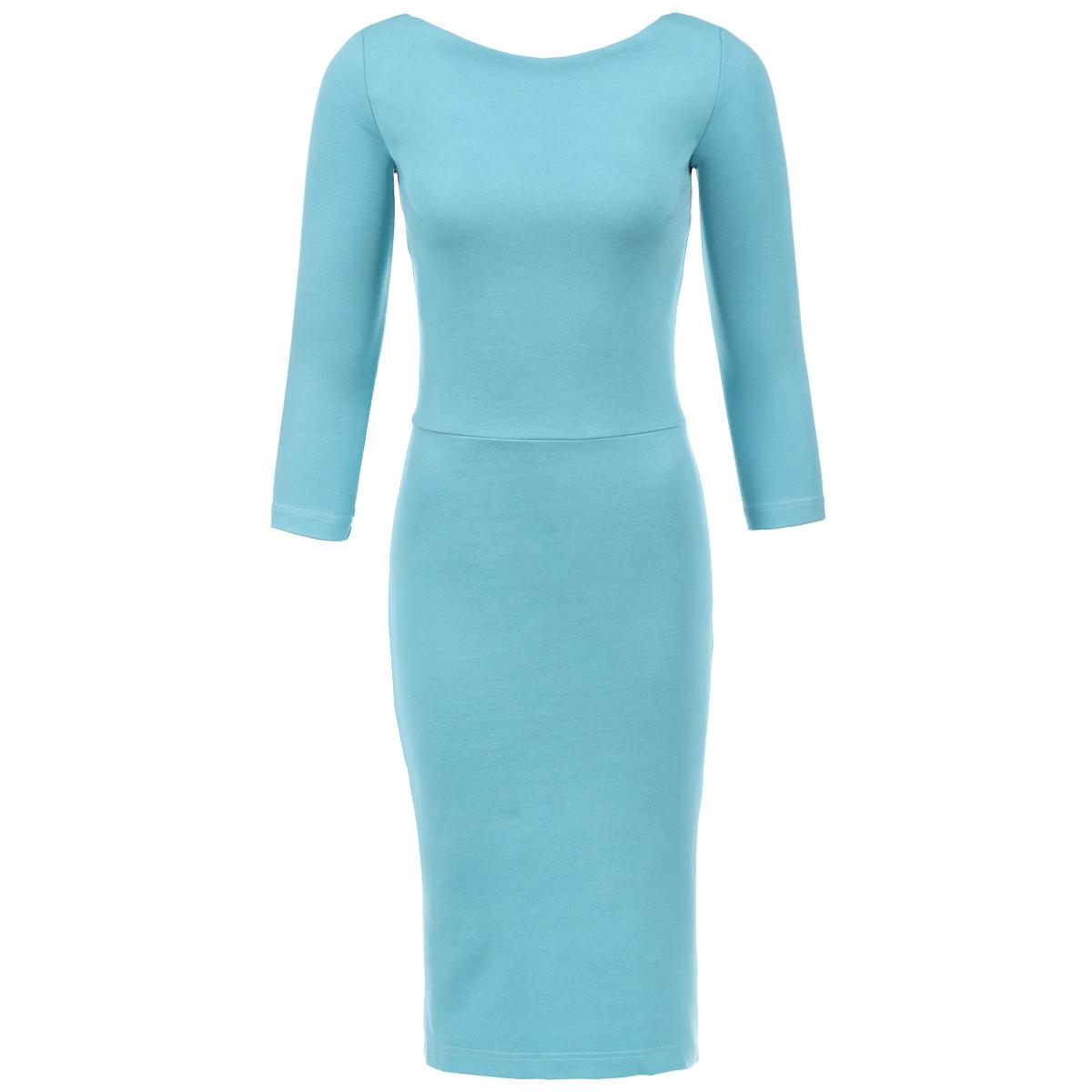 ПлатьеP79D-BСтильное платье от Анны Чапман выполнено из плотного трикотажного материала. Модель приталенного силуэта с круглым вырезом горловины, отрезной талией и рукавами длиной 3/4. На спинке платье застегивается на потайную молнию и имеет глубокий V-образный вырез. Спереди юбка имеет форму карандаш, а сзади дополнена декоративным воланом. Модное платье лаконичного дизайна органично впишется в повседневный гардероб.