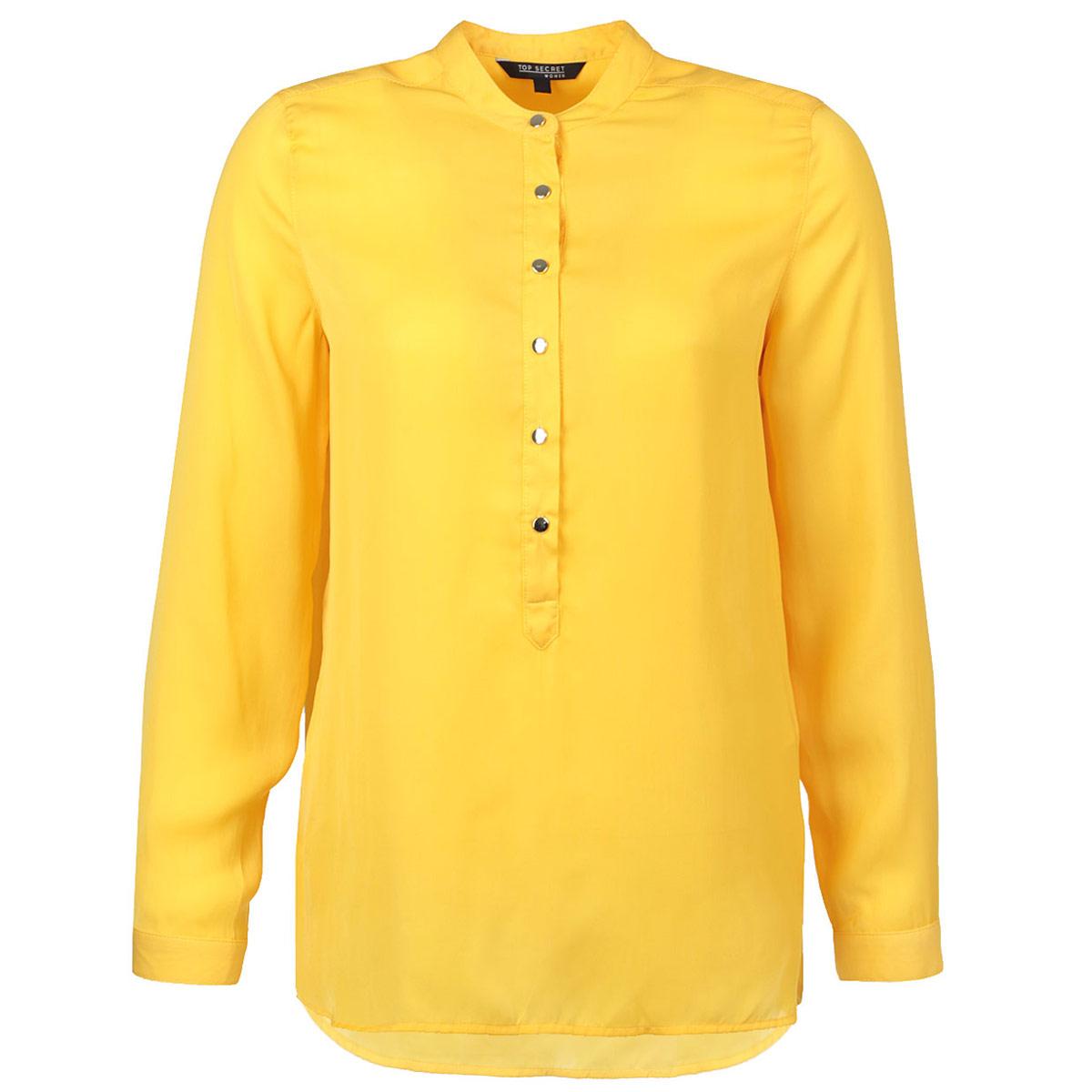 Блузка. SKL1702ZOSKL1702ZOСтильная блузка Top Secret выполнена из легкого полиэстера. Модель с круглым вырезом горловины, длинными рукавами и полукруглым низом. Спереди изделие застегивается на пуговицы до середины длины. Манжеты также застегиваются на пуговицы. Спинка модели удлиненная. Оригинальный дизайн этой блузки не позволит вам остаться незамеченной!