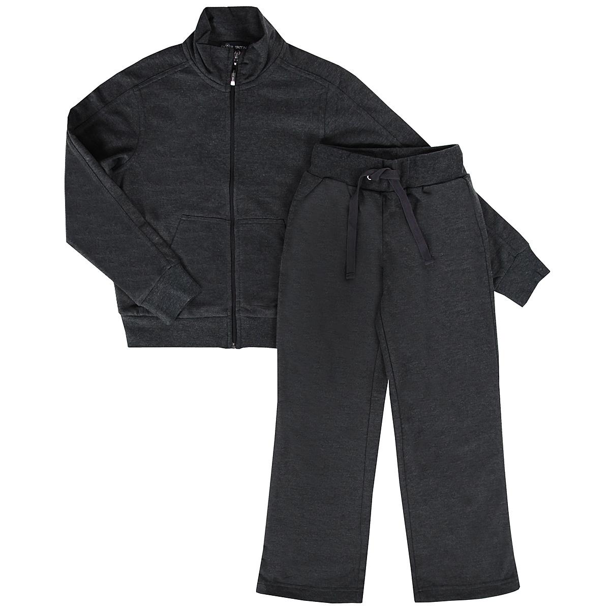 Спортивный костюм для мальчика. SS-B-B-0204SS-B-B-0204_001Модный спортивный костюм для мальчика Silver Spoon, состоящий из толстовки и брюк, идеально подойдет вашему маленькому непоседе и станет отличным дополнением к детскому гардеробу. Изготовленный из хлопка с добавлением полиэстера, он необычайно мягкий и приятный на ощупь, не сковывает движения и позволяет коже дышать, не раздражает даже самую нежную и чувствительную кожу ребенка, обеспечивая ему наибольший комфорт. Толстовка с длинными рукавами-реглан и воротником-стойкой застегивается на пластиковую застежку-молнию, что помогает с легкостью переодеть ребенка. Спереди предусмотрен накладной карман-кенгуру. Понизу модель дополнена широкой трикотажной резинкой, а на рукавах имеются широкие трикотажные манжеты, не стягивающие запястья. Спортивные брюки прямого покроя на поясе имеют широкую эластичную резинку, регулируемую шнурком, благодаря чему они не сдавливают животик ребенка. Сзади предусмотрен накладной карман. В таком костюме ваш ребенок будет чувствовать...