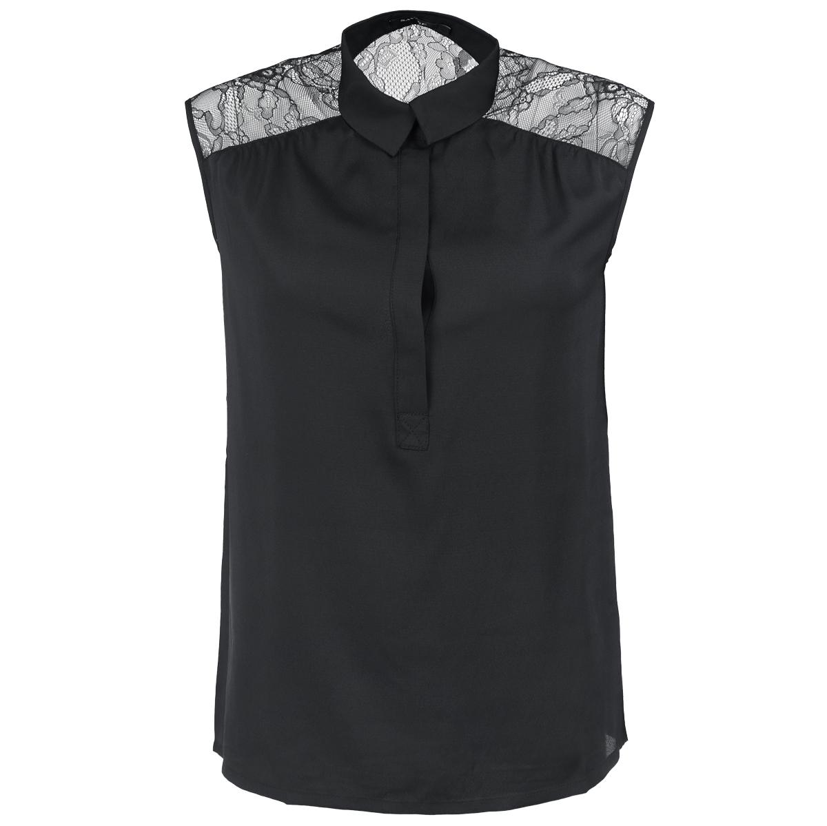 Блузка. 515307515307Элегантная блузка Savage выполнена из струящегося материала, приятного на ощупь. Модель свободного кроя с отложным воротничком и без рукавов. На груди изделие застегивается на пуговицы, скрытые планкой. Плечи и верхняя часть спинки оформлены кружевными вставками. Модная блузка займет достойное место в вашем гардеробе.