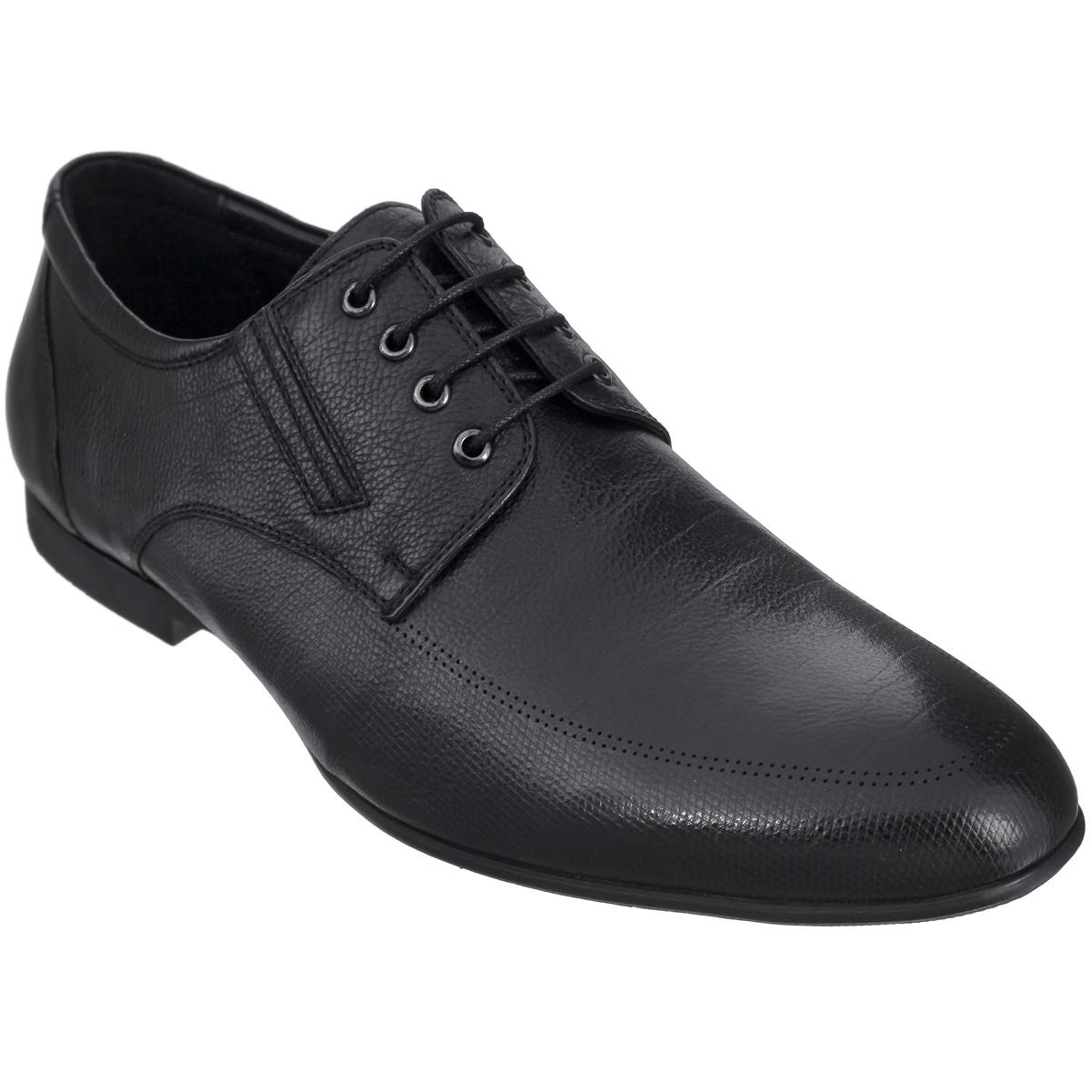 102-86-106Элегантные мужские туфли от Dino Ricci займут достойное место среди вашей коллекции обуви. Модель выполнена из натуральной высококачественной кожи с зернистой фактурой. Резинки, расположенные на подъеме, гарантируют оптимальную посадку модели на ноге. Шнуровка позволяет прочно зафиксировать обувь на ноге. Стелька из натуральной кожи оснащена перфорацией, позволяющей вашим ногам дышать. Каблук и подошва с рифлением обеспечивают отличное сцепление с поверхностью. Стильные туфли прекрасно дополнят ваш деловой образ.