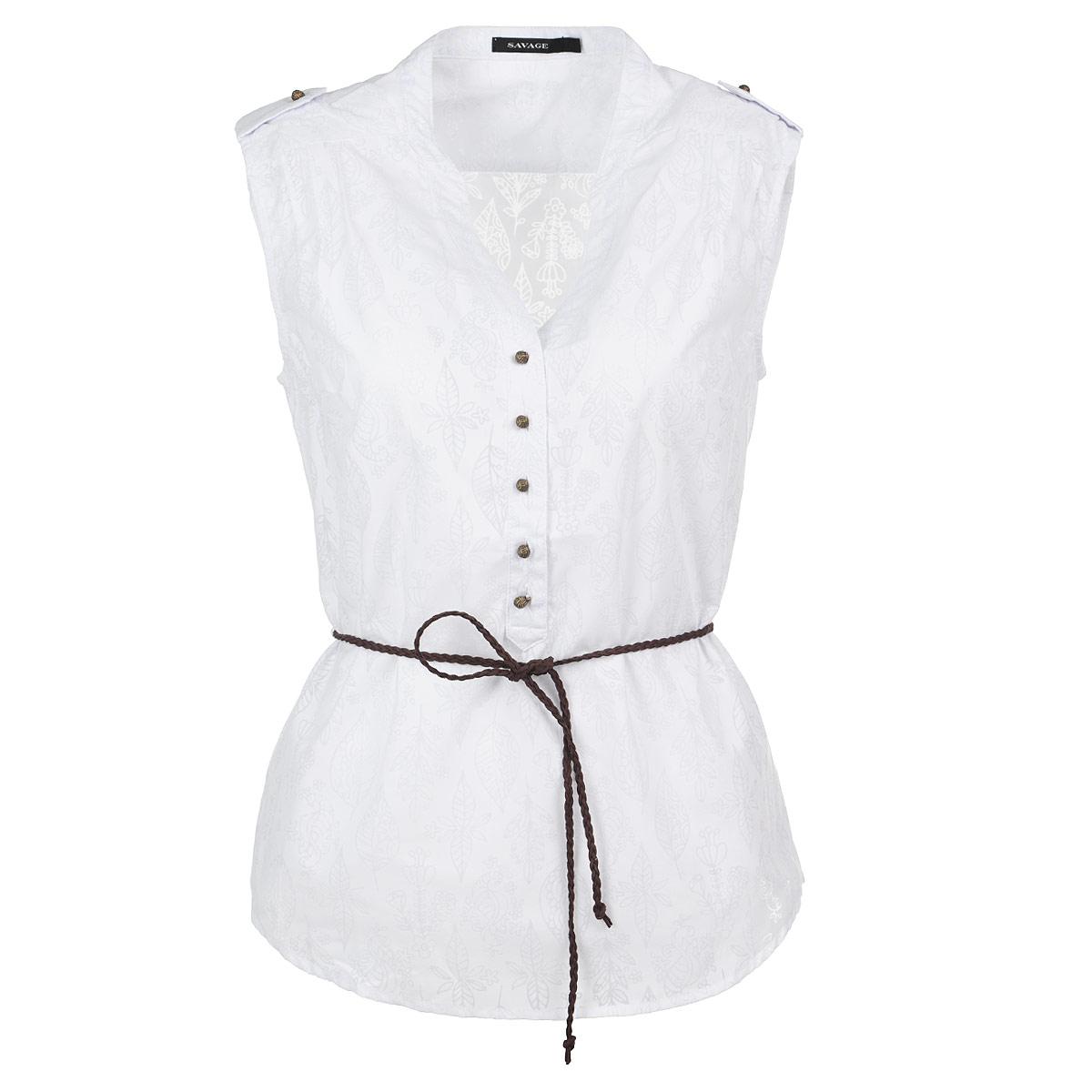 Блузка. 515344515344Стильная блузка, изготовленная из высококачественного материала, не сковывает движения, обеспечивая наибольший комфорт. Модель приталенного кроя без рукавов, застегивается на пуговицы до середины длины изделия. Блуза с V-образным вырезом горловины и поукруглым низом, на талии дополнена тонким пояском-косичкой. Плечи оформлены декоративными складками. Такую модную блузу вы сможете комбинировать с любыми элементами гардероба и будете чувствовать себя в ней уютно и комфортно.