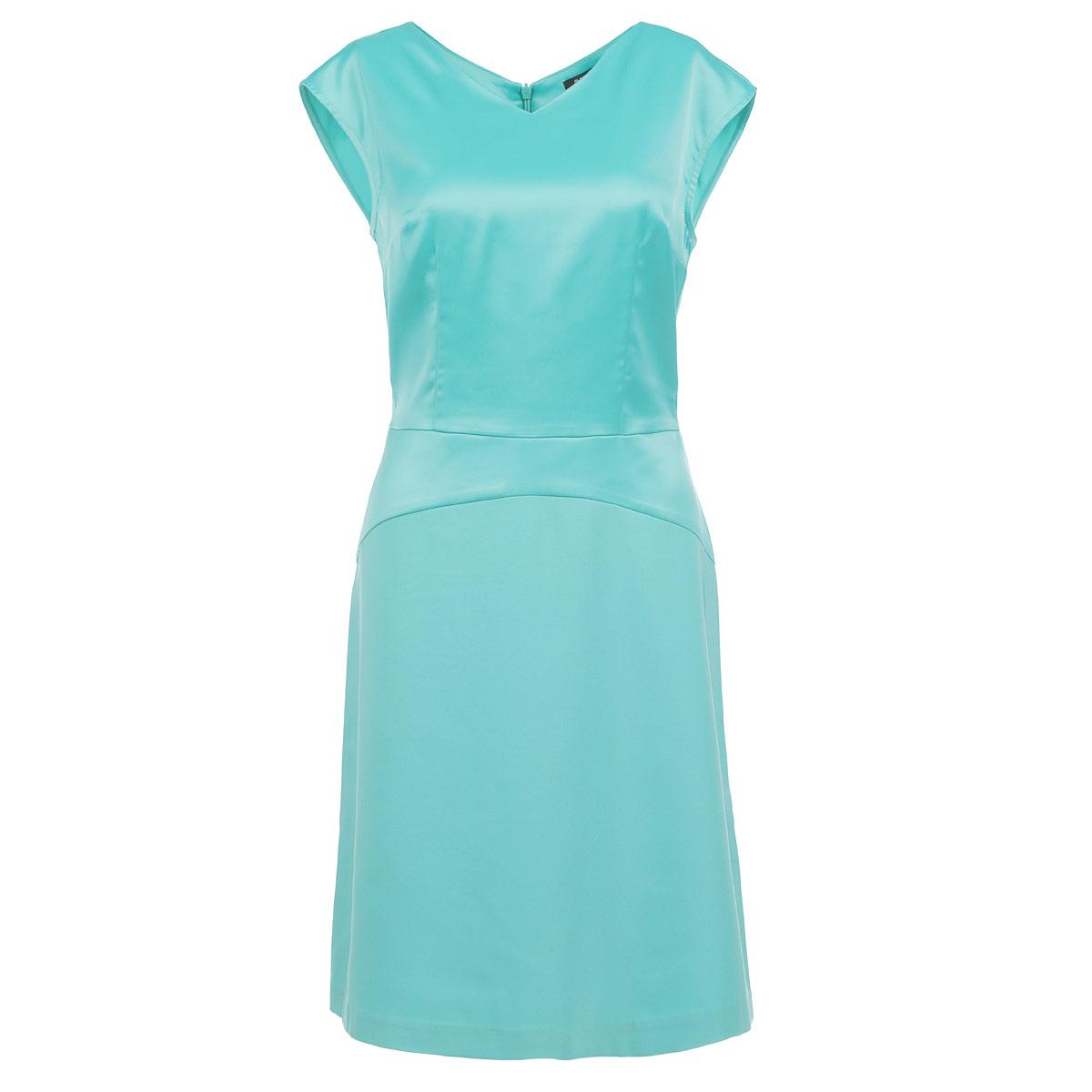 Платье515509Элегантное платье Savage выполнено из плотного материала высокого качества. Модель приталенного силуэта с V-образным вырезом горловины и короткими рукавами-кимоно. На спинке платье застегивается на потайную молнию. Стильное платье подчеркнет достоинства вашей фигуры.