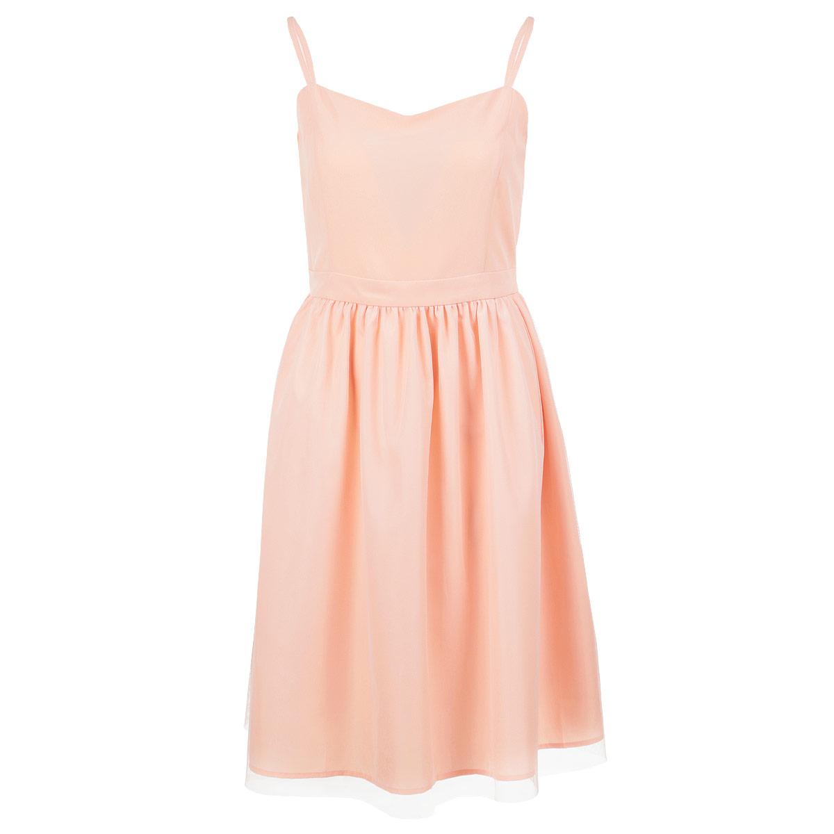 Платье. 535520535520Оригинальное платье People на тонких регулируемых бретелях выполнено из легкого и приятного на ощупь материала. Платье сбоку застегивается на потайную застежку-молнию. Модель приталенного силуэта с пышной юбкой длины миди. Верхняя юбка выполнена из микросетки. Стильное платье выгодно освежит и разнообразит любой гардероб. Создайте женственный образ и подчеркните свою яркую индивидуальность!