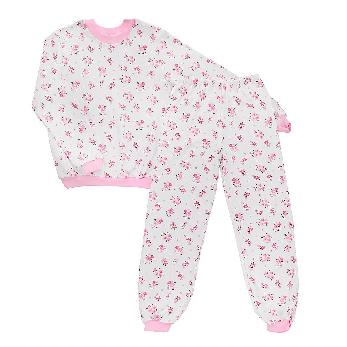 Пижама5555_цветыУютная пижама для девочки Трон-плюс, состоящая из джемпера и брюк, идеально подойдет вашему ребенку и станет отличным дополнением к детскому гардеробу. Изготовленная из натурального хлопка, она необычайно мягкая и легкая, не сковывает движения, позволяет коже дышать и не раздражает даже самую нежную и чувствительную кожу ребенка. Джемпер с длинными рукавами имеет круглый вырез горловины. Низ изделия, рукава и вырез горловины дополнены широкой трикотажной резинкой контрастного цвета. Брюки на талии имеют эластичную резинку, благодаря чему не сдавливают живот ребенка и не сползают. Низ брючин дополнен широкими эластичными манжетами контрастного цвета. Оформлено изделие ненавязчивым цветочным принтом. В такой пижаме ваша дочурка будет чувствовать себя комфортно и уютно во время сна.