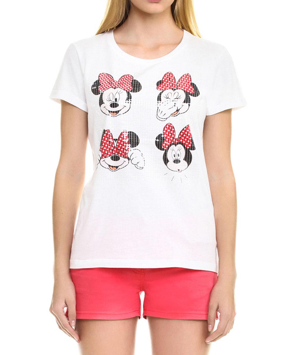 ФутболкаB235052_OPTICAL-WHITEСтильная женская футболка Baon, выполненная из высококачественного хлопка, обладает высокой теплопроводностью, воздухопроницаемостью и гигроскопичностью, позволяет коже дышать. Модель с короткими рукавами и круглым вырезом горловины - идеальный вариант для создания образа в стиле Casual. Футболка оформлена рисунком в виде мордочек Минни Маус и расшита прозрачными пайетками. Такая модель будет дарить вам комфорт в течение всего дня и послужит замечательным дополнением к вашему гардеробу.