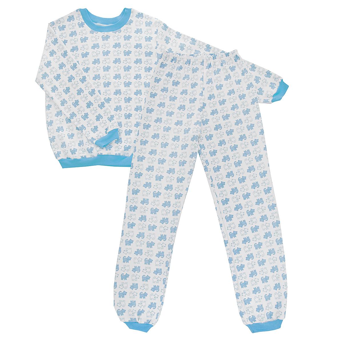 Пижама детская. 5555_котенок5555_котенокУютная детская пижама Трон-плюс, состоящая из джемпера и брюк, идеально подойдет вашему ребенку и станет отличным дополнением к детскому гардеробу. Изготовленная из интерлока, она необычайно мягкая и легкая, не сковывает движения, позволяет коже дышать и не раздражает даже самую нежную и чувствительную кожу ребенка. Трикотажный джемпер с длинными рукавами имеет круглый вырез горловины. Низ изделия, рукава и вырез горловины дополнены эластичной трикотажной резинкой контрастного цвета. Брюки на талии имеют эластичную резинку, благодаря чему не сдавливают живот ребенка и не сползают. Низ брючин дополнен широкими эластичными манжетами контрастного цвета. Оформлено изделие оригинальным принтом с изображением котят. В такой пижаме ваш ребенок будет чувствовать себя комфортно и уютно во время сна.