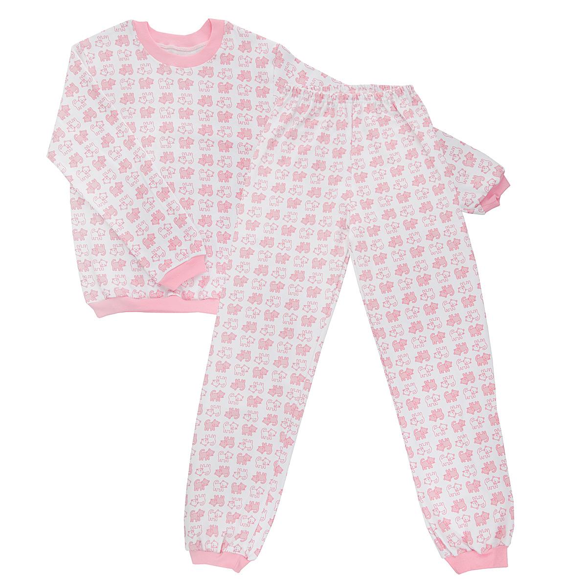 Пижама5555_котенокУютная детская пижама Трон-плюс, состоящая из джемпера и брюк, идеально подойдет вашему ребенку и станет отличным дополнением к детскому гардеробу. Изготовленная из интерлока, она необычайно мягкая и легкая, не сковывает движения, позволяет коже дышать и не раздражает даже самую нежную и чувствительную кожу ребенка. Трикотажный джемпер с длинными рукавами имеет круглый вырез горловины. Низ изделия, рукава и вырез горловины дополнены эластичной трикотажной резинкой контрастного цвета. Брюки на талии имеют эластичную резинку, благодаря чему не сдавливают живот ребенка и не сползают. Низ брючин дополнен широкими эластичными манжетами контрастного цвета. Оформлено изделие оригинальным принтом с изображением котят. В такой пижаме ваш ребенок будет чувствовать себя комфортно и уютно во время сна.