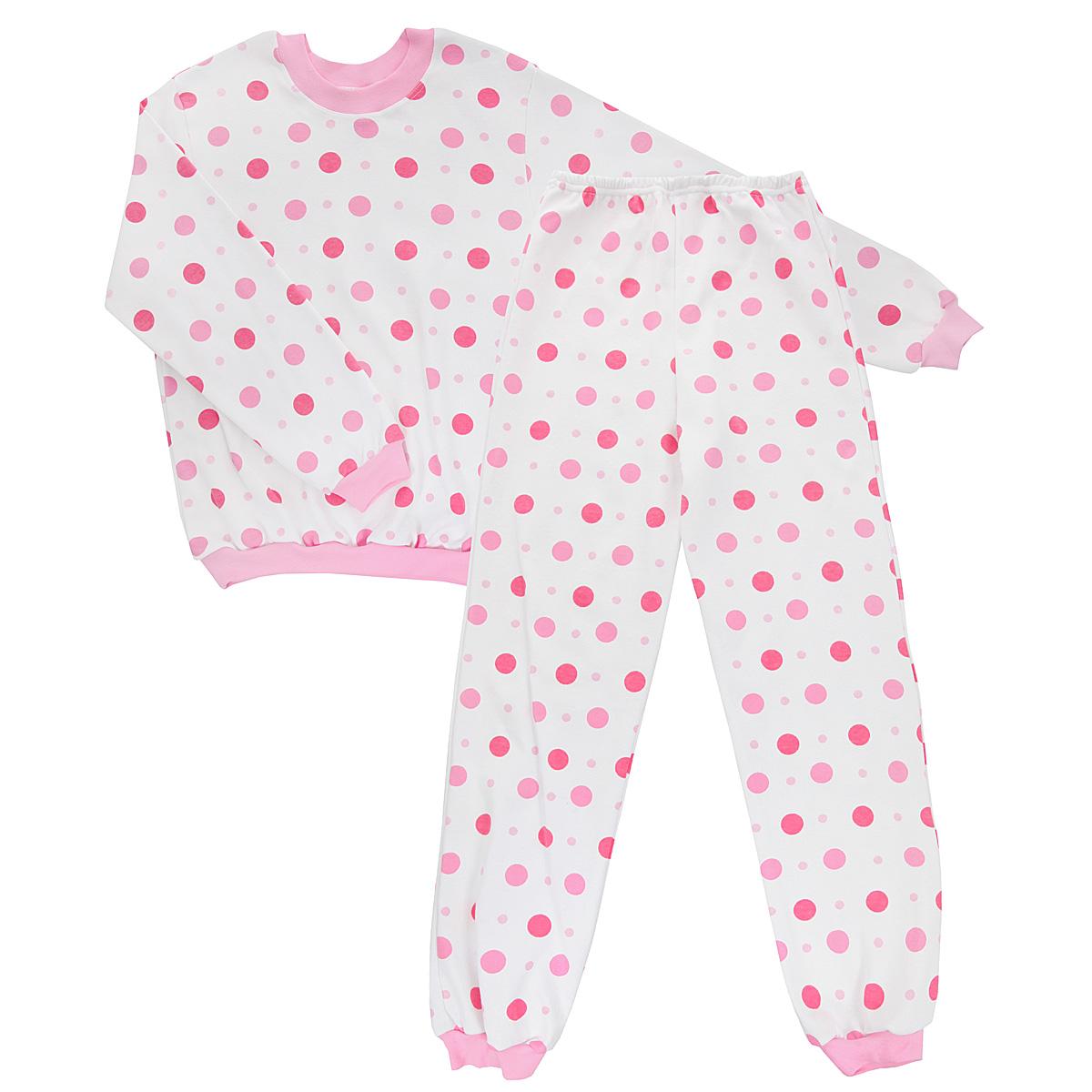 Пижама5555_горохУютная детская пижама Трон-плюс, состоящая из джемпера и брюк, идеально подойдет вашему ребенку и станет отличным дополнением к детскому гардеробу. Изготовленная из интерлока, она необычайно мягкая и легкая, не сковывает движения, позволяет коже дышать и не раздражает даже самую нежную и чувствительную кожу ребенка. Трикотажный джемпер с длинными рукавами имеет круглый вырез горловины. Низ изделия, рукава и вырез горловины дополнены эластичной трикотажной резинкой. Брюки на талии имеют мягкую резинку, благодаря чему не сдавливают живот ребенка и не сползают. Низ брючин дополнен широкими манжетами. Оформлено изделие оригинальным принтом в горох. В такой пижаме ваш ребенок будет чувствовать себя комфортно и уютно во время сна.