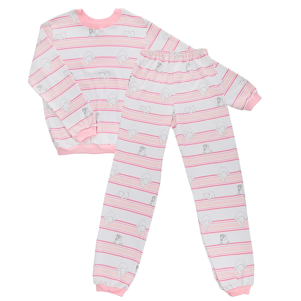 5555_мишкаУютная детская пижама Трон-плюс, состоящая из джемпера и брюк, идеально подойдет вашему ребенку и станет отличным дополнением к детскому гардеробу. Изготовленная из интерлока, она необычайно мягкая и легкая, не сковывает движения, позволяет коже дышать и не раздражает даже самую нежную и чувствительную кожу ребенка. Трикотажный джемпер с длинными рукавами имеет круглый вырез горловины. Низ изделия, рукава и вырез горловины дополнены эластичной трикотажной резинкой контрастного цвета. Брюки на талии имеют эластичную резинку, благодаря чему не сдавливают живот ребенка и не сползают. Низ брючин дополнен широкими эластичными манжетами контрастного цвета. Оформлено изделие оригинальным принтом с изображением белых мишек и цветных полос. В такой пижаме ваш ребенок будет чувствовать себя комфортно и уютно во время сна.
