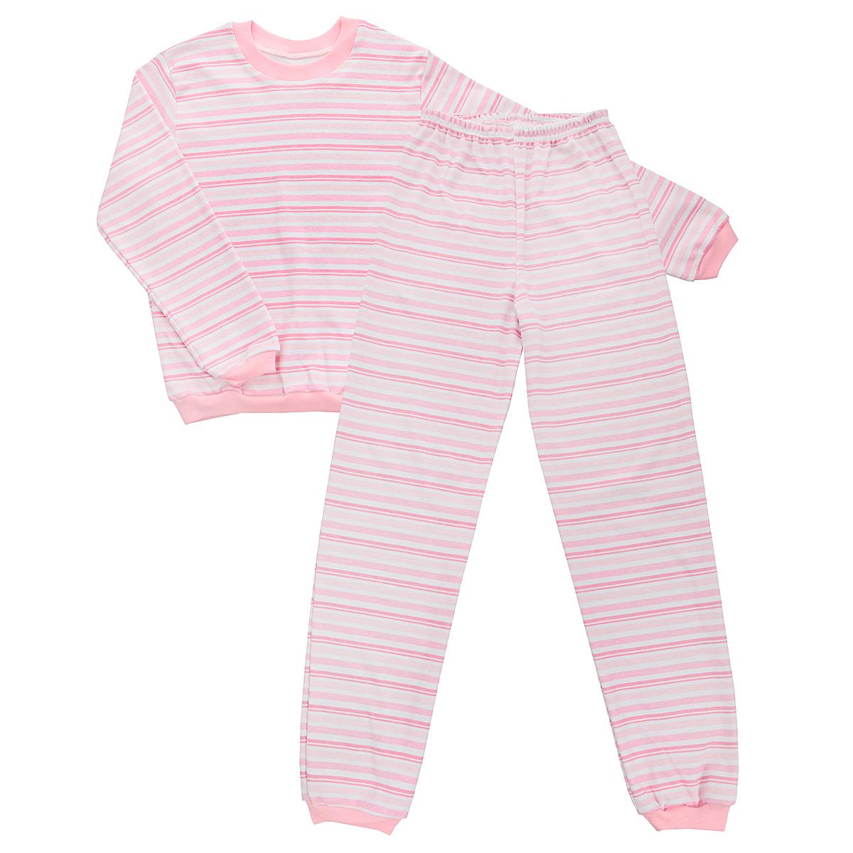 5555_полоскаУютная детская пижама Трон-плюс, состоящая из джемпера и брюк, идеально подойдет вашему ребенку и станет отличным дополнением к детскому гардеробу. Изготовленная из интерлока, она необычайно мягкая и легкая, не сковывает движения, позволяет коже дышать и не раздражает даже самую нежную и чувствительную кожу ребенка. Трикотажный джемпер с длинными рукавами имеет круглый вырез горловины. Низ изделия, рукава и вырез горловины дополнены эластичной трикотажной резинкой контрастного цвета. Брюки на талии имеют эластичную резинку, благодаря чему не сдавливают живот ребенка и не сползают. Низ брючин дополнен широкими эластичными манжетами контрастного цвета. Оформлено изделие принтом в полоску. В такой пижаме ваш ребенок будет чувствовать себя комфортно и уютно во время сна.
