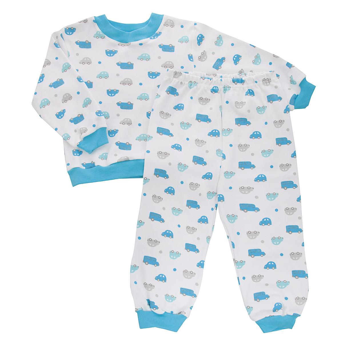 Пижама5555_машинкиУютная пижама для мальчика Трон-плюс, состоящая из джемпера и брюк, идеально подойдет вашему ребенку и станет отличным дополнением к детскому гардеробу. Изготовленная из натурального хлопка, она необычайно мягкая и легкая, не сковывает движения, позволяет коже дышать и не раздражает даже самую нежную и чувствительную кожу ребенка. Джемпер с длинными рукавами имеет круглый вырез горловины. Низ изделия, рукава и вырез горловины дополнены широкой трикотажной резинкой контрастного цвета. Брюки на талии имеют эластичную резинку, благодаря чему не сдавливают живот ребенка и не сползают. Низ брючин дополнен широкими эластичными манжетами контрастного цвета. Оформлено изделие ненавязчивым принтом с изображением машинок. В такой пижаме ваш ребенок будет чувствовать себя комфортно и уютно во время сна.