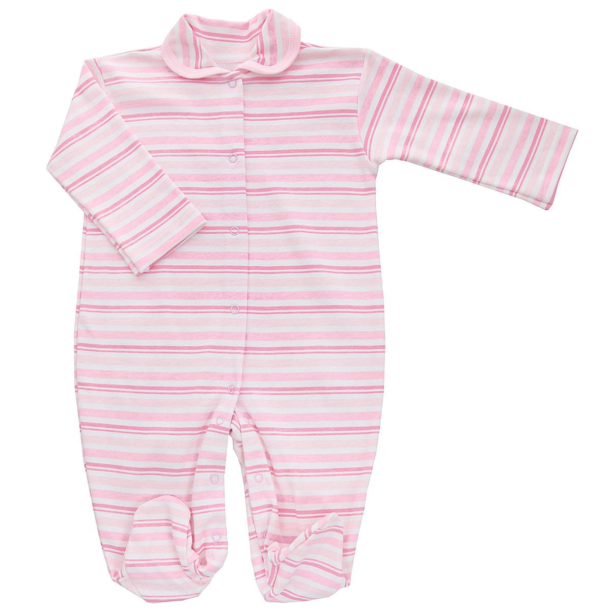 Комбинезон домашний5815_полоскаДетский комбинезон Трон-Плюс - очень удобный и практичный вид одежды для малышей. Комбинезон выполнен из интерлока - натурального хлопка, благодаря чему он необычайно мягкий и приятный на ощупь, не раздражает нежную кожу ребенка, и хорошо вентилируются, а эластичные швы приятны телу младенца и не препятствуют его движениям. Комбинезон с длинными рукавами, закрытыми ножками и отложным воротничком имеет застежки-кнопки от горловины до щиколоток, которые помогают легко переодеть ребенка или сменить подгузник. Воротник по краю дополнен контрастной бейкой. Оформлено изделие принтом в полоску. С детским комбинезоном спинка и ножки вашего крохи всегда будут в тепле, он идеален для использования днем и незаменим ночью. Комбинезон полностью соответствует особенностям жизни младенца в ранний период, не стесняя и не ограничивая его в движениях!