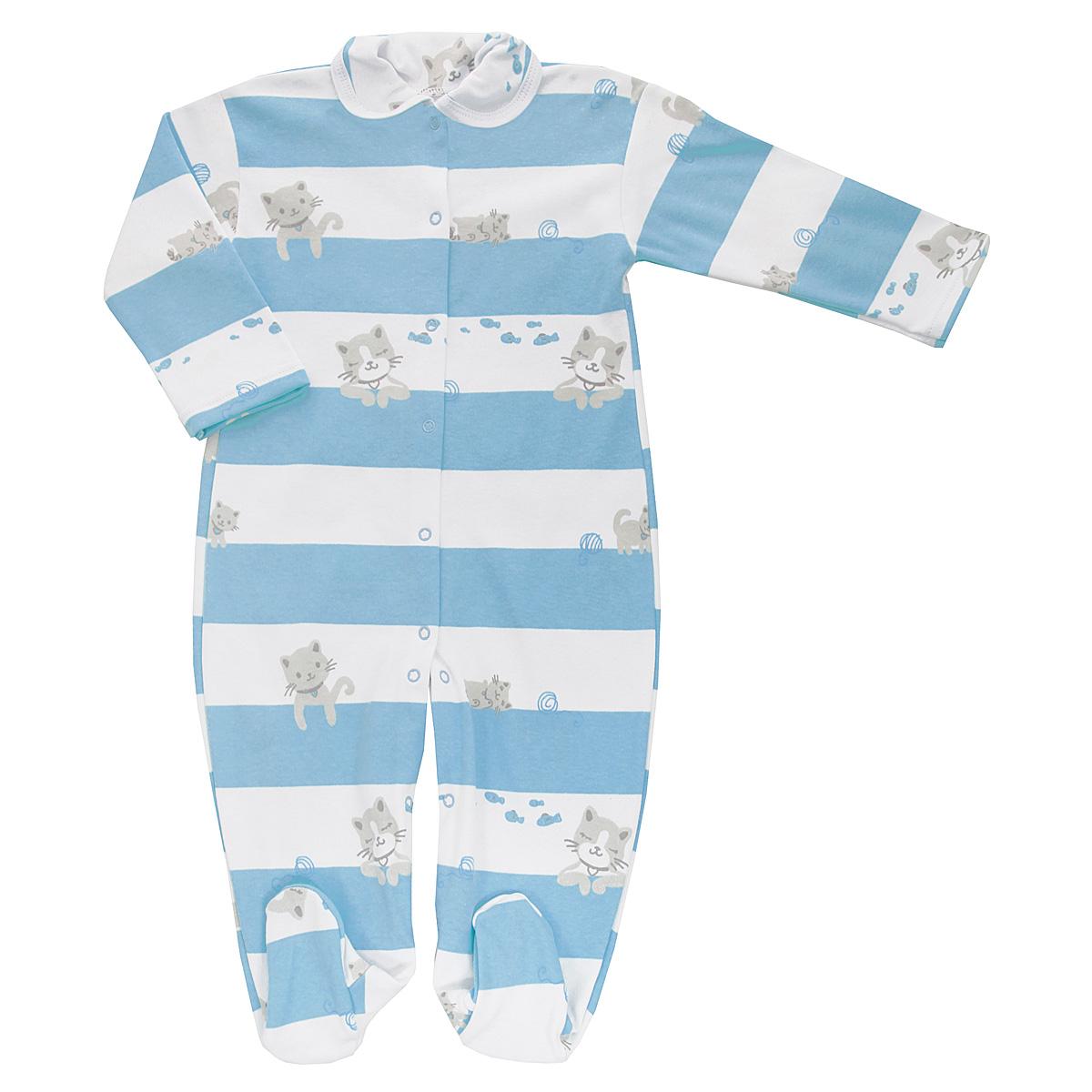 Комбинезон домашний5815_котенок, полоскаДетский комбинезон Трон-Плюс - очень удобный и практичный вид одежды для малышей. Комбинезон выполнен из интерлока - натурального хлопка, благодаря чему он необычайно мягкий и приятный на ощупь, не раздражает нежную кожу ребенка, и хорошо вентилируются, а эластичные швы приятны телу младенца и не препятствуют его движениям. Комбинезон с длинными рукавами, закрытыми ножками и отложным воротничком имеет застежки-кнопки от горловины до щиколоток, которые помогают легко переодеть ребенка или сменить подгузник. Воротник по краю дополнен контрастной бейкой. Оформлено изделие принтом в полоску, а также изображениями котят. С детским комбинезоном спинка и ножки вашего крохи всегда будут в тепле, он идеален для использования днем и незаменим ночью. Комбинезон полностью соответствует особенностям жизни младенца в ранний период, не стесняя и не ограничивая его в движениях!