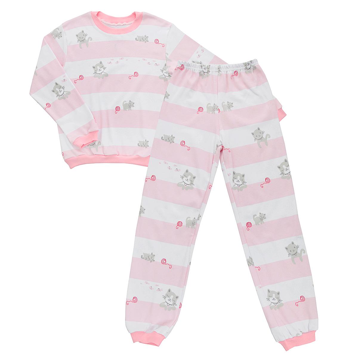 Пижама детская. 5555_котенок, полоска5555_котенок, полоскаУютная детская пижама Трон-плюс, состоящая из джемпера и брюк, идеально подойдет вашему ребенку и станет отличным дополнением к детскому гардеробу. Изготовленная из интерлока, она необычайно мягкая и легкая, не сковывает движения, позволяет коже дышать и не раздражает даже самую нежную и чувствительную кожу ребенка. Трикотажный джемпер с длинными рукавами имеет круглый вырез горловины. Низ изделия, рукава и вырез горловины дополнены эластичной трикотажной резинкой контрастного цвета. Брюки на талии имеют эластичную резинку, благодаря чему не сдавливают живот ребенка и не сползают. Низ брючин дополнен широкими эластичными манжетами контрастного цвета. Оформлено изделие оригинальным принтом в широкую полоску и изображениями милого котенка. В такой пижаме ваш ребенок будет чувствовать себя комфортно и уютно во время сна.