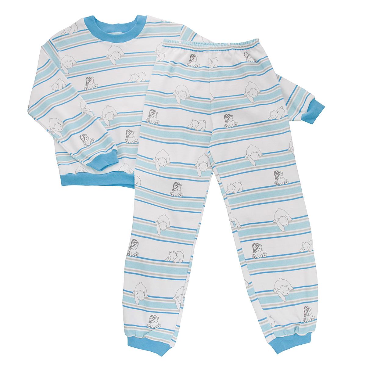Пижама5555_мишкаУютная детская пижама Трон-плюс, состоящая из джемпера и брюк, идеально подойдет вашему ребенку и станет отличным дополнением к детскому гардеробу. Изготовленная из интерлока, она необычайно мягкая и легкая, не сковывает движения, позволяет коже дышать и не раздражает даже самую нежную и чувствительную кожу ребенка. Трикотажный джемпер с длинными рукавами имеет круглый вырез горловины. Низ изделия, рукава и вырез горловины дополнены эластичной трикотажной резинкой контрастного цвета. Брюки на талии имеют эластичную резинку, благодаря чему не сдавливают живот ребенка и не сползают. Низ брючин дополнен широкими эластичными манжетами контрастного цвета. Оформлено изделие оригинальным принтом с изображением белых мишек и цветных полос. В такой пижаме ваш ребенок будет чувствовать себя комфортно и уютно во время сна.