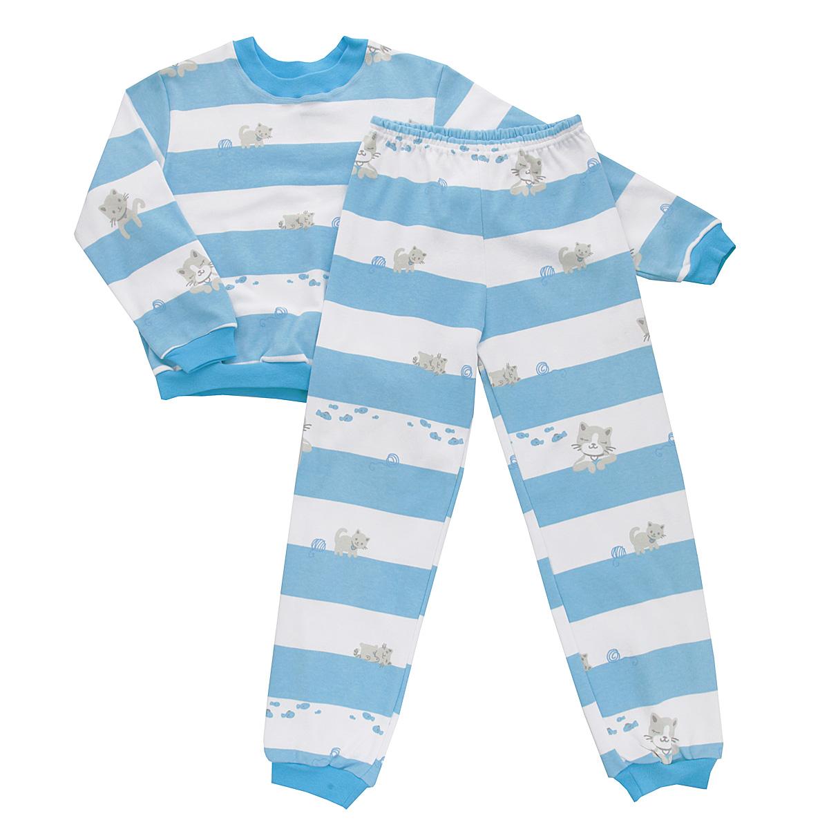 5555_котенок, полоскаУютная детская пижама Трон-плюс, состоящая из джемпера и брюк, идеально подойдет вашему ребенку и станет отличным дополнением к детскому гардеробу. Изготовленная из интерлока, она необычайно мягкая и легкая, не сковывает движения, позволяет коже дышать и не раздражает даже самую нежную и чувствительную кожу ребенка. Трикотажный джемпер с длинными рукавами имеет круглый вырез горловины. Низ изделия, рукава и вырез горловины дополнены эластичной трикотажной резинкой контрастного цвета. Брюки на талии имеют эластичную резинку, благодаря чему не сдавливают живот ребенка и не сползают. Низ брючин дополнен широкими эластичными манжетами контрастного цвета. Оформлено изделие оригинальным принтом в широкую полоску и изображениями милого котенка. В такой пижаме ваш ребенок будет чувствовать себя комфортно и уютно во время сна.
