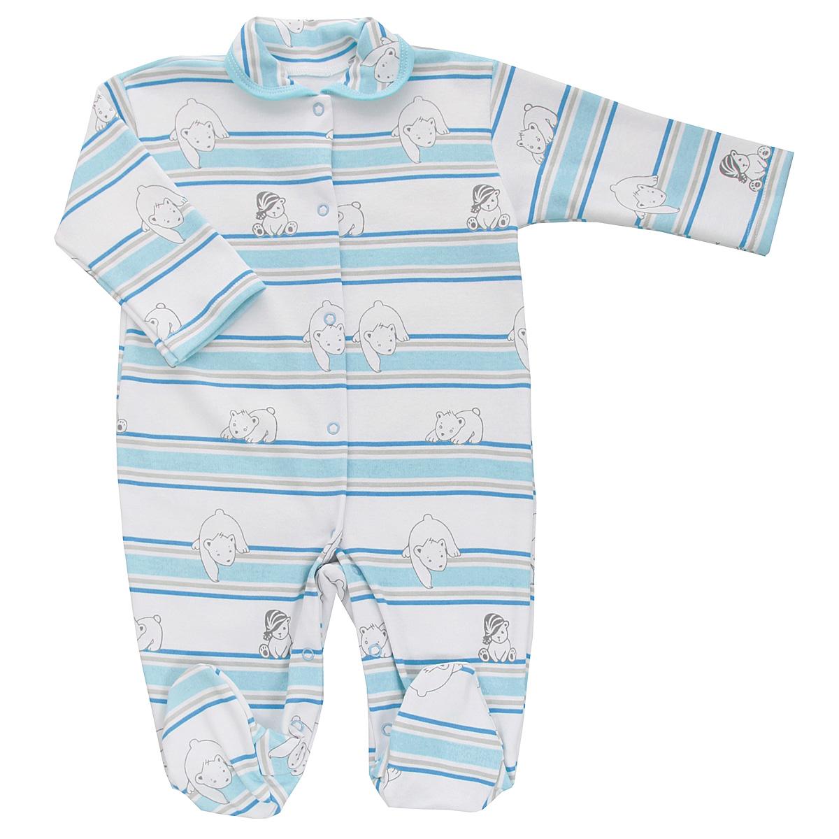 5815_мишка, полоскаДетский комбинезон Трон-Плюс - очень удобный и практичный вид одежды для малышей. Комбинезон выполнен из интерлока - натурального хлопка, благодаря чему он необычайно мягкий и приятный на ощупь, не раздражает нежную кожу ребенка, и хорошо вентилируются, а эластичные швы приятны телу младенца и не препятствуют его движениям. Комбинезон с длинными рукавами, закрытыми ножками и отложным воротничком имеет застежки-кнопки от горловины до щиколоток, которые помогают легко переодеть ребенка или сменить подгузник. Воротник по краю дополнен контрастной бейкой. Оформлено изделие принтом в полоску, а также изображениями медвежат. С детским комбинезоном спинка и ножки вашего крохи всегда будут в тепле, он идеален для использования днем и незаменим ночью. Комбинезон полностью соответствует особенностям жизни младенца в ранний период, не стесняя и не ограничивая его в движениях!