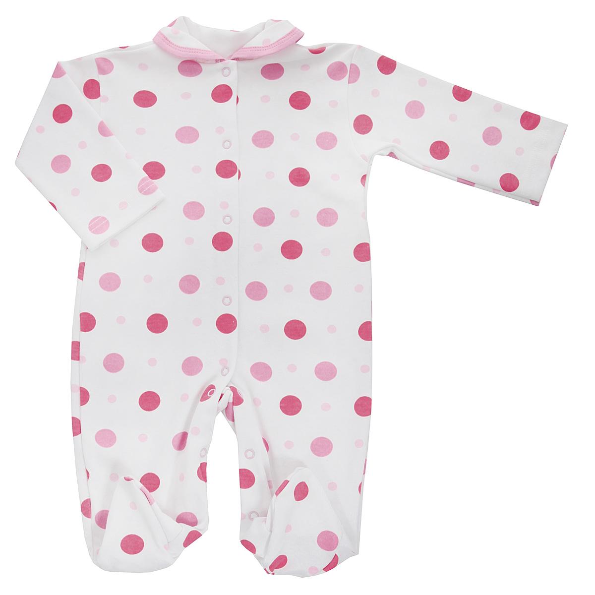 5815_горохДетский комбинезон Трон-Плюс - очень удобный и практичный вид одежды для малышей. Комбинезон выполнен из интерлока - натурального хлопка, благодаря чему он необычайно мягкий и приятный на ощупь, не раздражает нежную кожу ребенка, и хорошо вентилируются, а эластичные швы приятны телу младенца и не препятствуют его движениям. Комбинезон с длинными рукавами, закрытыми ножками и отложным воротничком имеет застежки-кнопки от горловины до щиколоток, которые помогают легко переодеть ребенка или сменить подгузник. Воротник по краю дополнен контрастной бейкой. Оформлено изделие ненавязчивым гороховым принтом. С детским комбинезоном спинка и ножки вашего крохи всегда будут в тепле, он идеален для использования днем и незаменим ночью. Комбинезон полностью соответствует особенностям жизни младенца в ранний период, не стесняя и не ограничивая его в движениях!