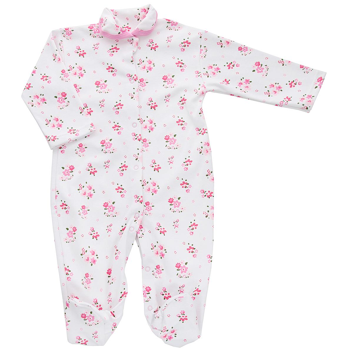 Комбинезон домашний5815_цветыКомбинезон для девочки Трон-Плюс - очень удобный и практичный вид одежды для малышей. Комбинезон выполнен из интерлока - натурального хлопка, благодаря чему он необычайно мягкий и приятный на ощупь, не раздражает нежную кожу ребенка, и хорошо вентилируются, а эластичные швы приятны телу малышки и не препятствуют ее движениям. Комбинезон с длинными рукавами, закрытыми ножками и отложным воротничком имеет застежки-кнопки от горловины до щиколоток, которые помогают легко переодеть младенца или сменить подгузник. Воротник по краю дополнен контрастной бейкой. Оформлено изделие ненавязчивым цветочным принтом. С детским комбинезоном спинка и ножки вашей малышки всегда будут в тепле, он идеален для использования днем и незаменим ночью. Комбинезон полностью соответствует особенностям жизни младенца в ранний период, не стесняя и не ограничивая его в движениях!