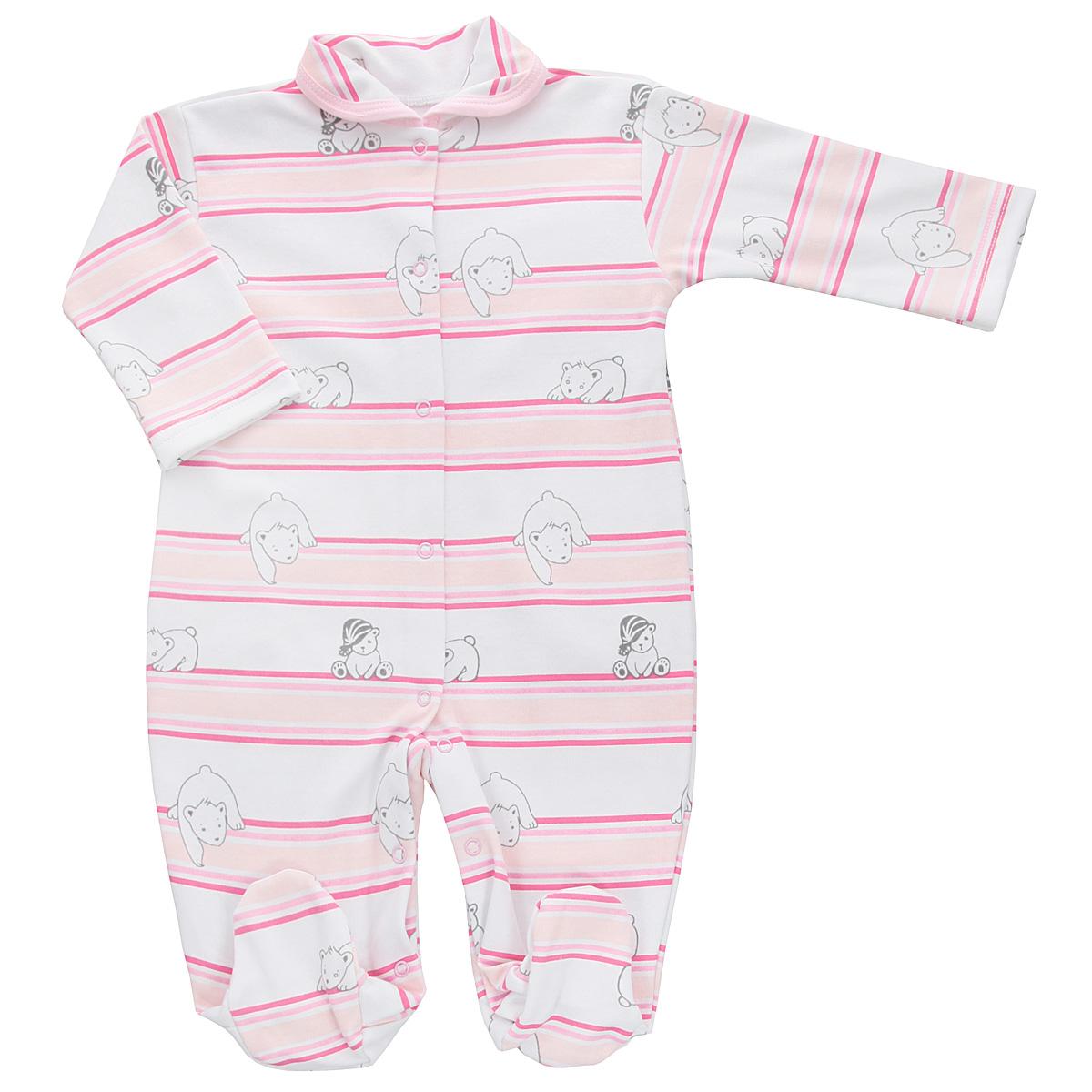 Комбинезон домашний5815_мишка, полоскаДетский комбинезон Трон-Плюс - очень удобный и практичный вид одежды для малышей. Комбинезон выполнен из интерлока - натурального хлопка, благодаря чему он необычайно мягкий и приятный на ощупь, не раздражает нежную кожу ребенка, и хорошо вентилируются, а эластичные швы приятны телу младенца и не препятствуют его движениям. Комбинезон с длинными рукавами, закрытыми ножками и отложным воротничком имеет застежки-кнопки от горловины до щиколоток, которые помогают легко переодеть ребенка или сменить подгузник. Воротник по краю дополнен контрастной бейкой. Оформлено изделие принтом в полоску, а также изображениями медвежат. С детским комбинезоном спинка и ножки вашего крохи всегда будут в тепле, он идеален для использования днем и незаменим ночью. Комбинезон полностью соответствует особенностям жизни младенца в ранний период, не стесняя и не ограничивая его в движениях!