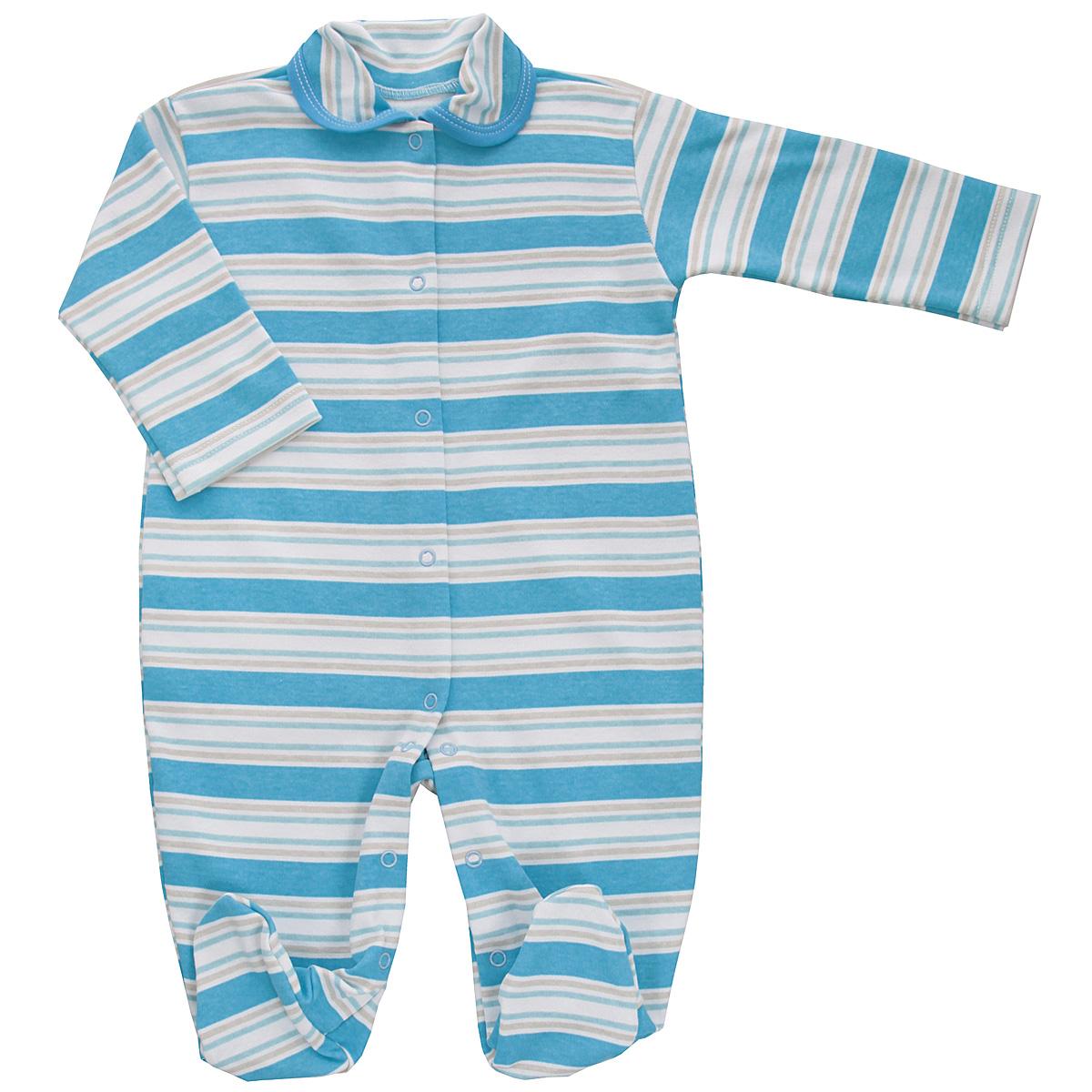 5815_полоскаДетский комбинезон Трон-Плюс - очень удобный и практичный вид одежды для малышей. Комбинезон выполнен из интерлока - натурального хлопка, благодаря чему он необычайно мягкий и приятный на ощупь, не раздражает нежную кожу ребенка, и хорошо вентилируются, а эластичные швы приятны телу младенца и не препятствуют его движениям. Комбинезон с длинными рукавами, закрытыми ножками и отложным воротничком имеет застежки-кнопки от горловины до щиколоток, которые помогают легко переодеть ребенка или сменить подгузник. Воротник по краю дополнен контрастной бейкой. Оформлено изделие принтом в полоску. С детским комбинезоном спинка и ножки вашего крохи всегда будут в тепле, он идеален для использования днем и незаменим ночью. Комбинезон полностью соответствует особенностям жизни младенца в ранний период, не стесняя и не ограничивая его в движениях!
