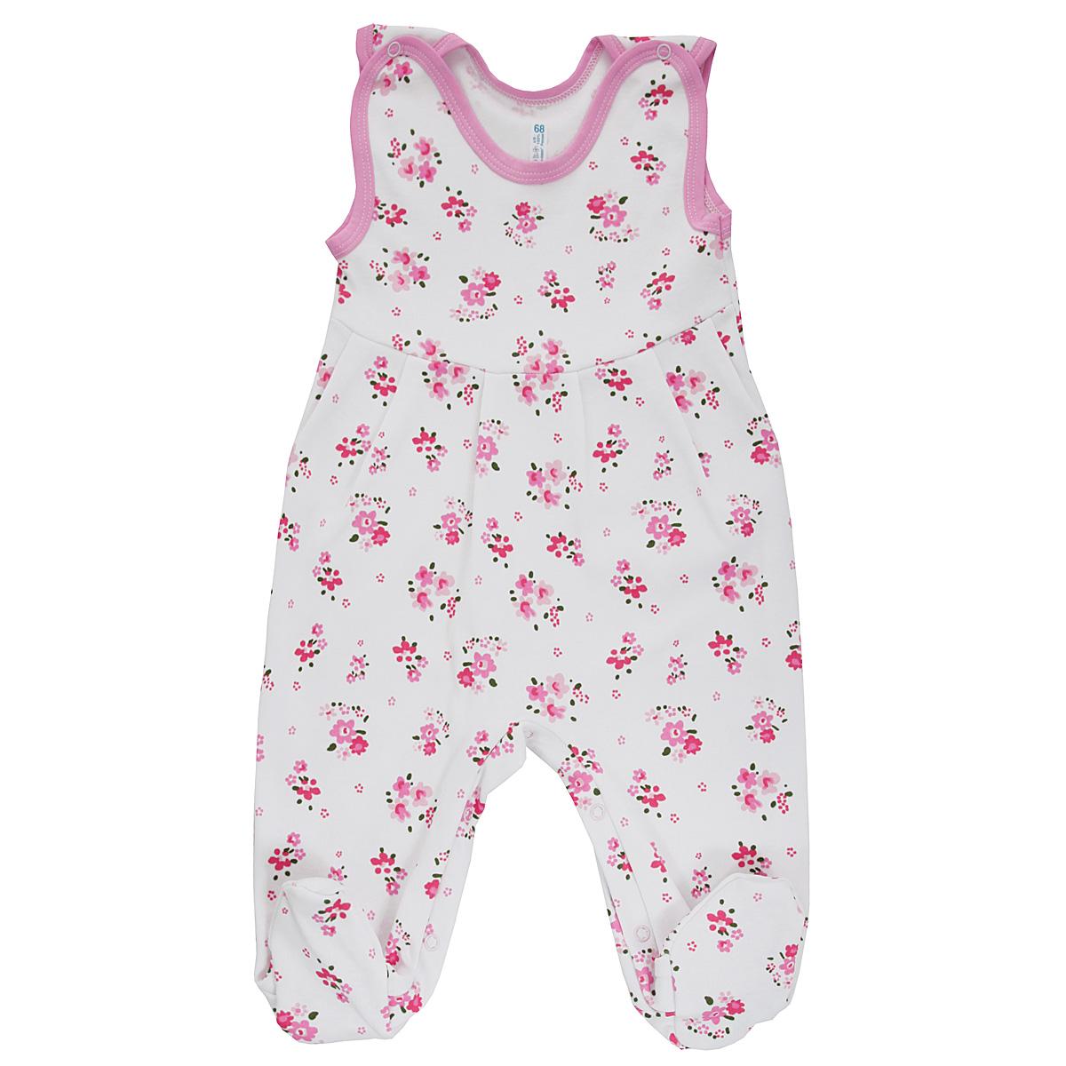 Ползунки5247_цветыПолзунки с грудкой для девочки Трон-плюс - очень удобный и практичный вид одежды для малышей. Ползунки выполнены из интерлока - натурального хлопка, благодаря чему они необычайно мягкие и приятные на ощупь, не раздражают нежную кожу ребенка и хорошо вентилируются, а эластичные швы приятны телу малышки и не препятствуют ее движениям. Ползунки с закрытыми ножками, оформленные набивным цветочным принтом, имеют застежки-кнопки на плечах и на ластовице, которые помогают легко переодеть ребенка или сменить подгузник. Ползунки с грудкой подходят для ношения с подгузником и без него, они полностью соответствуют особенностям жизни младенца в ранний период, не стесняя и не ограничивая его в движениях!
