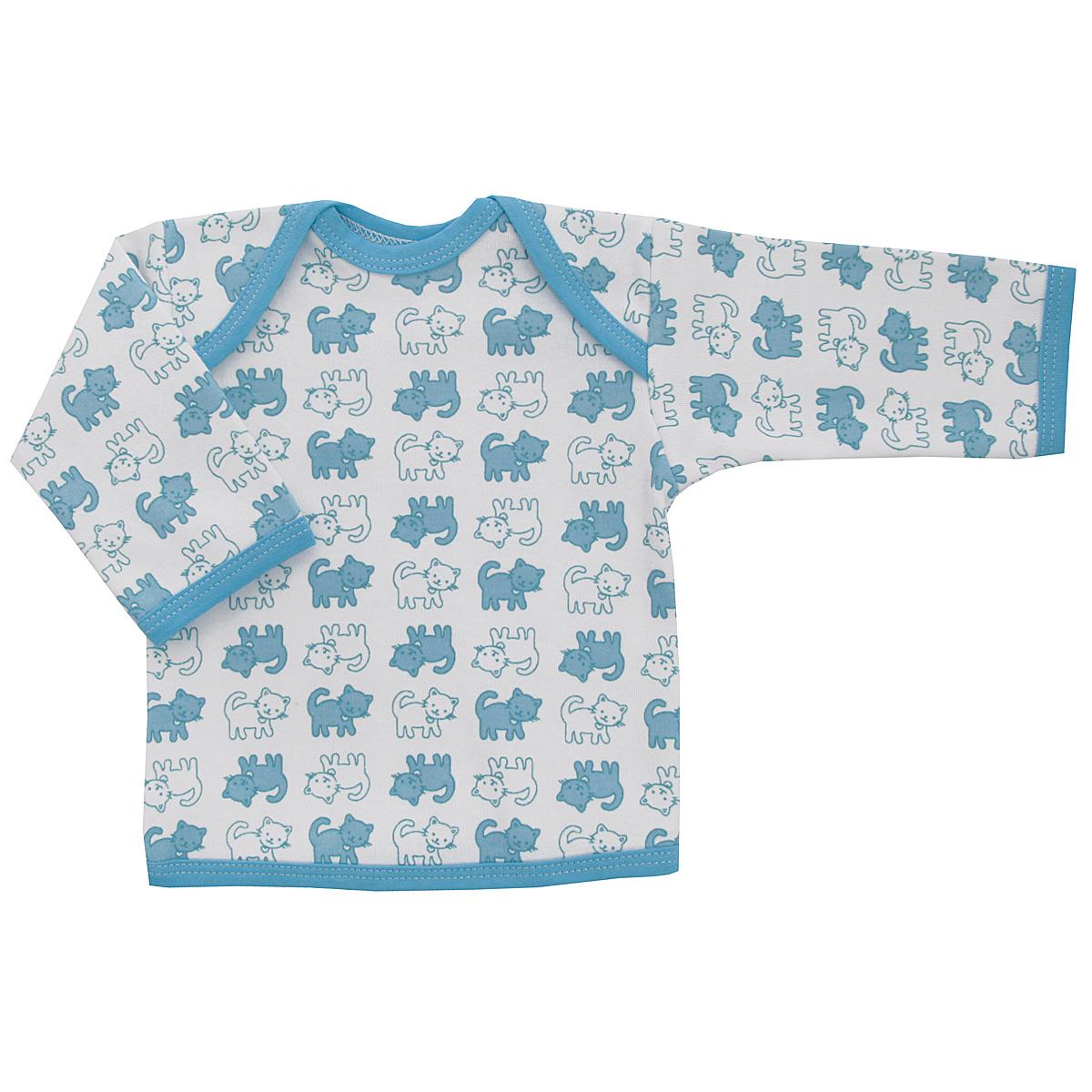 5611_котенокУдобная детская футболка Трон-плюс с длинными рукавами послужит идеальным дополнением к гардеробу вашего ребенка, обеспечивая ему наибольший комфорт. Изготовленная из интерлока - натурального хлопка, она необычайно мягкая и легкая, не раздражает нежную кожу ребенка и хорошо вентилируется, а эластичные швы приятны телу ребенка и не препятствуют его движениям. Удобные запахи на плечах помогают легко переодеть младенца. Горловина, низ модели и низ рукавов дополнены трикотажной бейкой. Спинка модели незначительно укорочена. Оформлено изделие принтом с изображениями котенка. Футболка полностью соответствует особенностям жизни ребенка в ранний период, не стесняя и не ограничивая его в движениях.