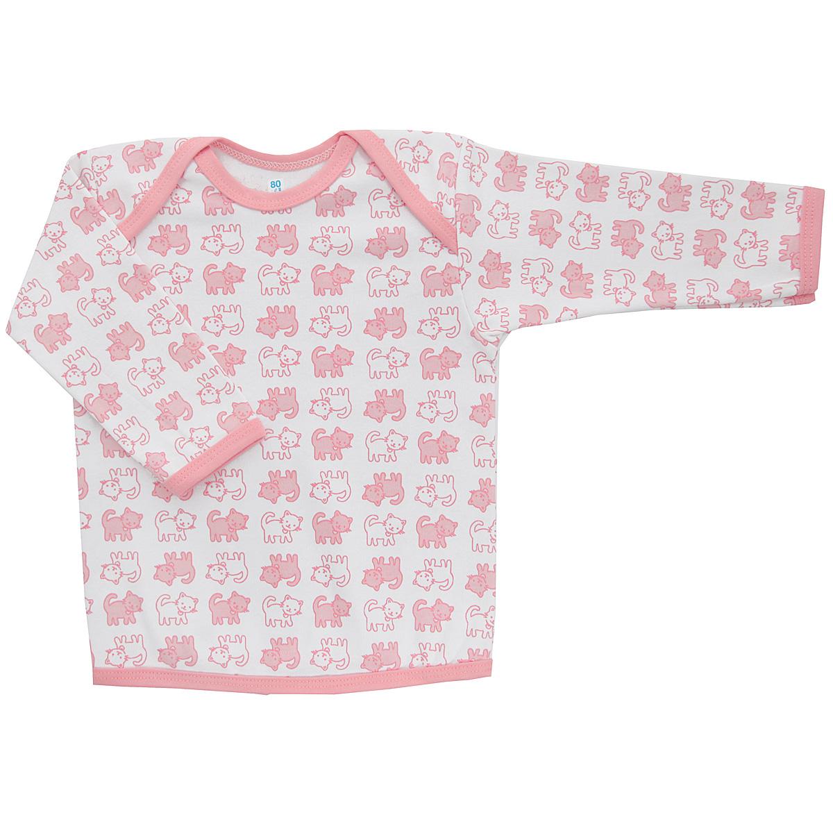 Футболка5611_котенокУдобная детская футболка Трон-плюс с длинными рукавами послужит идеальным дополнением к гардеробу вашего ребенка, обеспечивая ему наибольший комфорт. Изготовленная из интерлока - натурального хлопка, она необычайно мягкая и легкая, не раздражает нежную кожу ребенка и хорошо вентилируется, а эластичные швы приятны телу ребенка и не препятствуют его движениям. Удобные запахи на плечах помогают легко переодеть младенца. Горловина, низ модели и низ рукавов дополнены трикотажной бейкой. Спинка модели незначительно укорочена. Оформлено изделие принтом с изображениями котенка. Футболка полностью соответствует особенностям жизни ребенка в ранний период, не стесняя и не ограничивая его в движениях.