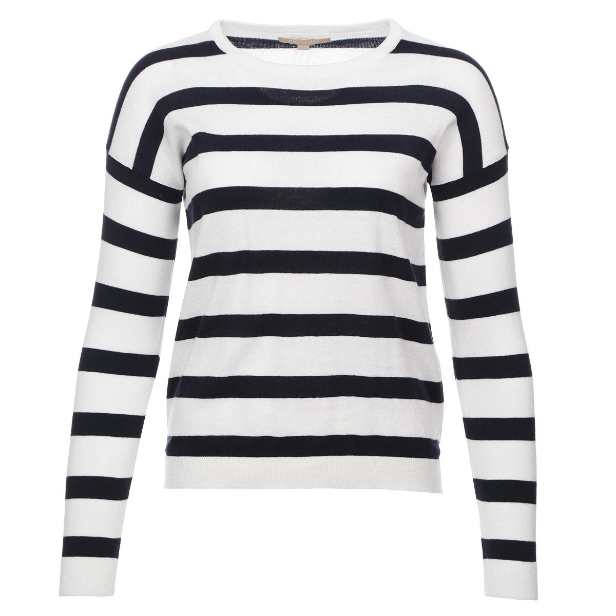 Пуловер женский. 1015260610152606 01BСтильный женский пуловер Broadway, изготовленный из натурального хлопка, не сковывает движения, обеспечивая наибольший комфорт. Модель с круглым вырезом горловины и длинными рукавами оформлена полосатым принтом. Снизу предусмотрены боковые разрезы. Этот модный пуловер послужит отличным дополнением к вашему гардеробу, он станет главной составляющей вашего стиля. В нем вы всегда будете чувствовать себя уютно и комфортно.