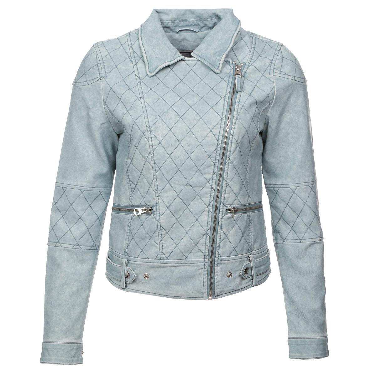 Куртка женская. 1015216910152169 551Стильная женская куртка Broadway, изготовленная из полиуретана и вискозы на подкладке из 100% полиэстера, смотрится модно и свежо. Куртка с отложным воротником застегивается на асимметричную металлическую застежку-молнию по левому краю. Спереди расположено два прорезных кармашка на застежках-молниях. Манжеты также застегиваются на кнопки. По нижнему краю модель дополнена хлястиками на кнопках, регулирующими ширину изделия. Куртка оформлена оригинальной стеганой отстрочкой и эффектом потертой кожи, что придает изделию оригинальность. Такая куртка обеспечит вам не только красивый внешний вид и комфорт, но и дополнительную защиту от прохладной погоды.