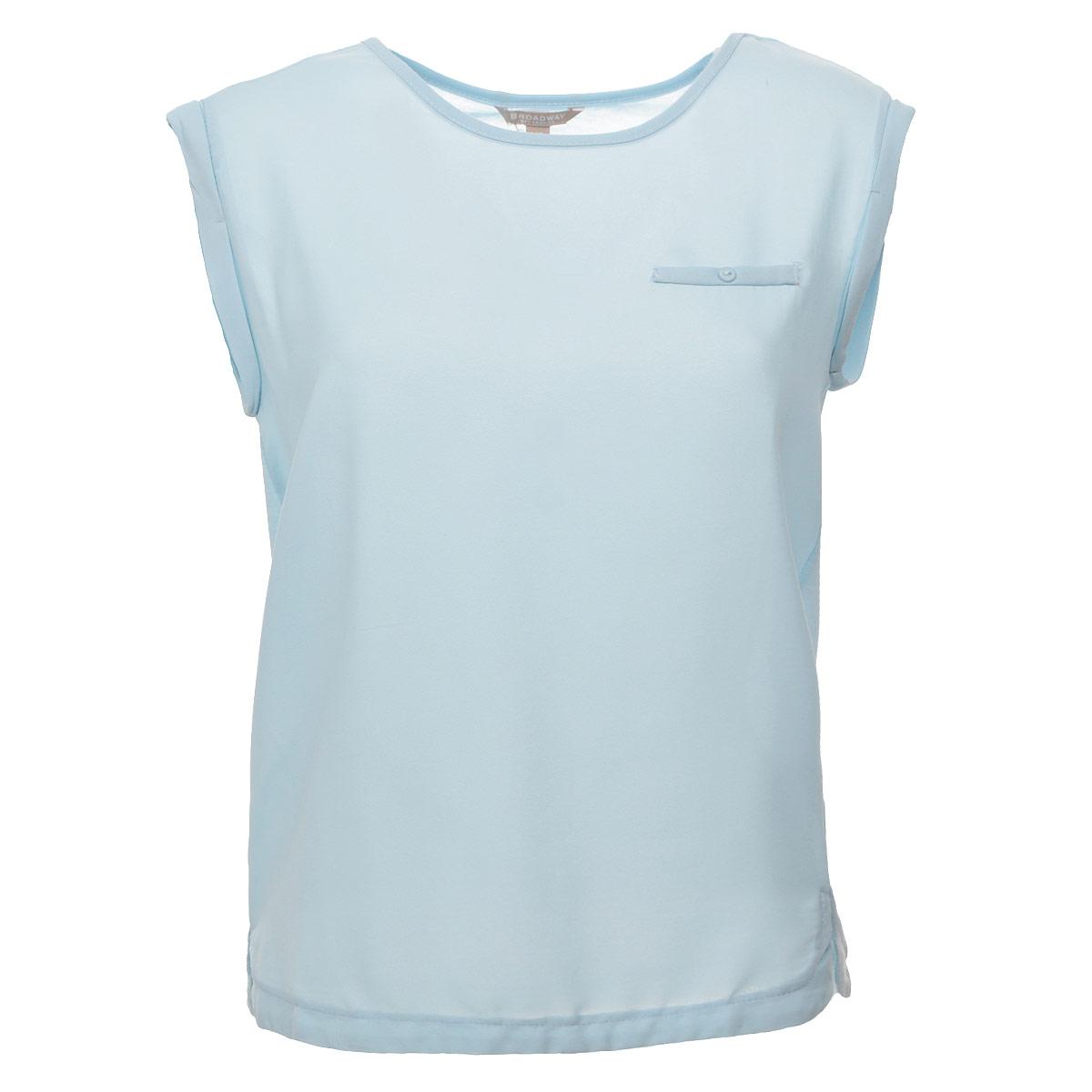 10152353 001Стильная блузка Broadway, выполненная из высококачественного материала, - находка для современной женщины, желающей выглядеть стильно и модно. Перед блузки выполнен из полиэстера, спинка - из полиэстера и вискозы. Модель свободного кроя с короткими рукавами и круглым вырезом горловины будет отлично на вас смотреться. На груди блузка оформлена имитацией прорезного кармашка на пуговице. Рукава оформлены набольшими отворотами. Такая модель, несомненно, вам понравится и послужит отличным дополнением к вашему гардеробу.