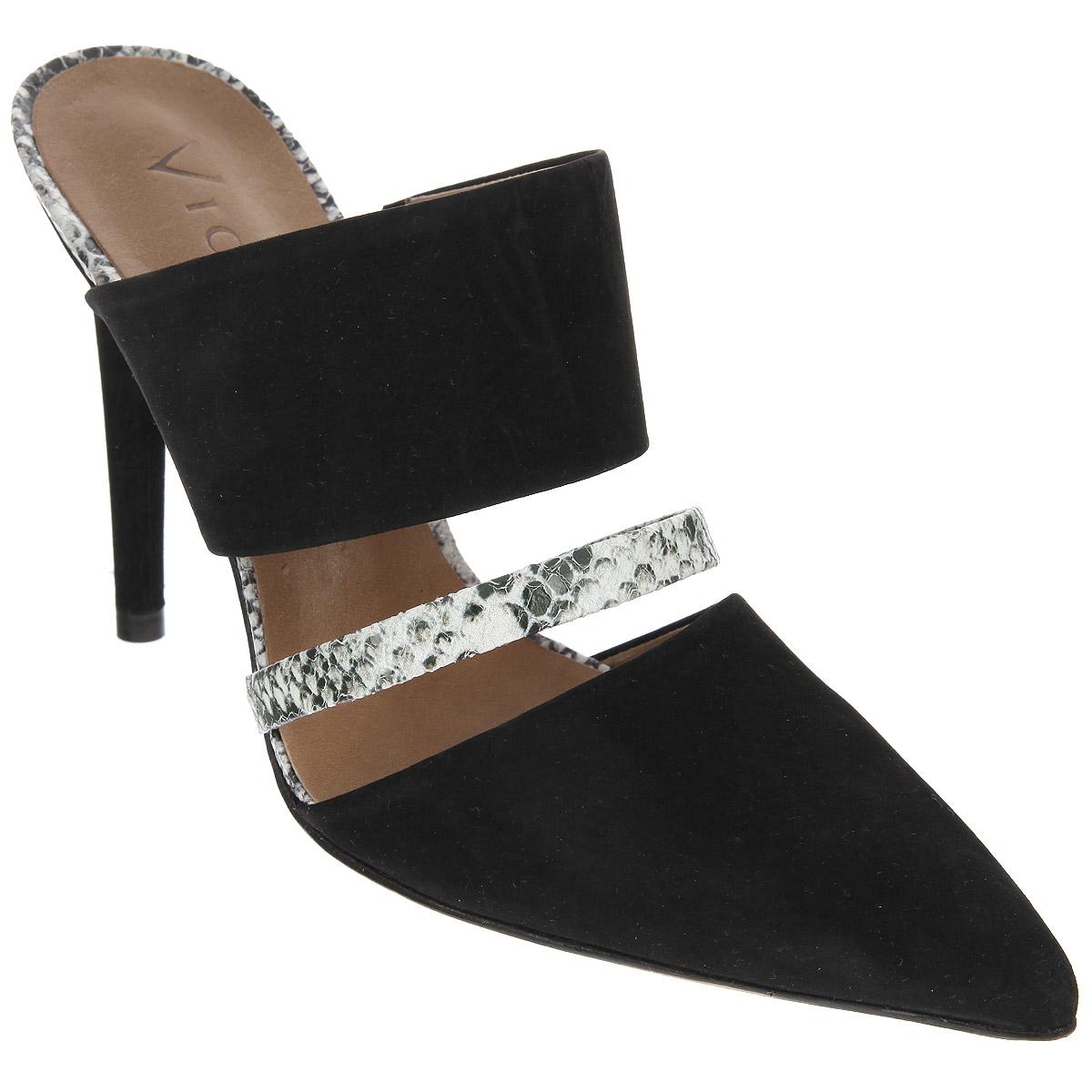 Сабо женские. 64331716433171Элегантные сабо от Vicenza займут достойное место среди вашей коллекции обуви. Модель выполнена из натурального нубука со вставками из натуральной кожи и декорирована оригинальными вырезами у основания подъема. Поперечный ремешок и верхняя часть подошвы оформлены принтом под змеиную кожу. Заостренный вытянутый носок смотрится невероятно женственно. Стелька из натуральной кожи комфортна при ходьбе. Ультравысокий каблук подчеркнет красоту и стройность ваших ног. Стильные сабо внесут изысканные нотки в ваш модный образ!