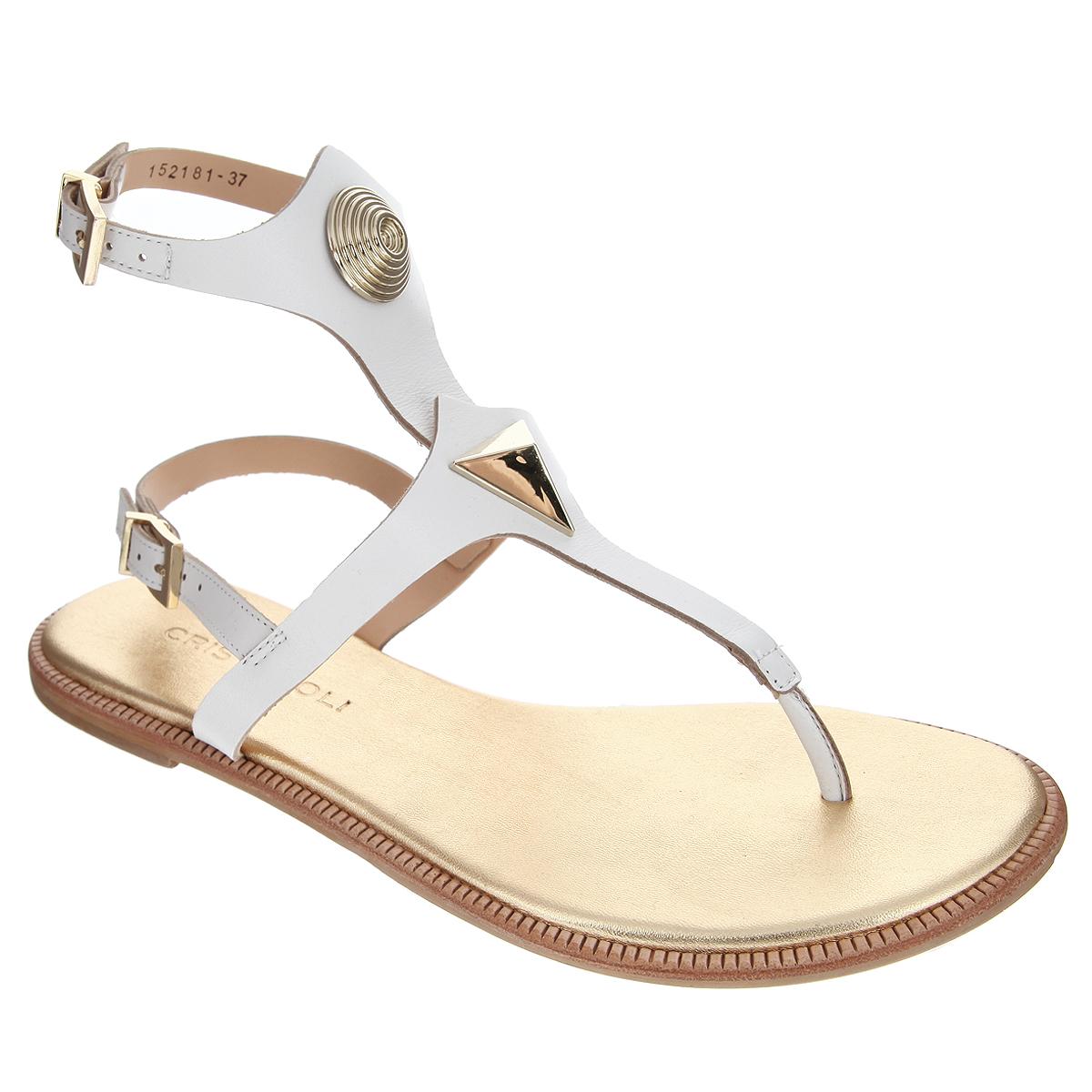Сандалии женские. 152181152181Оригинальные женские сандалии от Cristofoli заинтересуют вас своим дизайном. Модель изготовлена из высококачественной натуральной кожи. Ремешки на подъеме оформлены декоративными элементами оригинальной формы, выполненными из пластика. Ремешки с прямоугольной металлической пряжкой прочно зафиксируют модель на вашей ножке. Длина ремешков регулируется за счет болта. Мягкая кожаная стелька позволяет ногам дышать. Подошва, стилизованная под дерево, дополнена противоскользящим рифлением. Стильные сандалии помогут вам создать сногсшибательный образ.