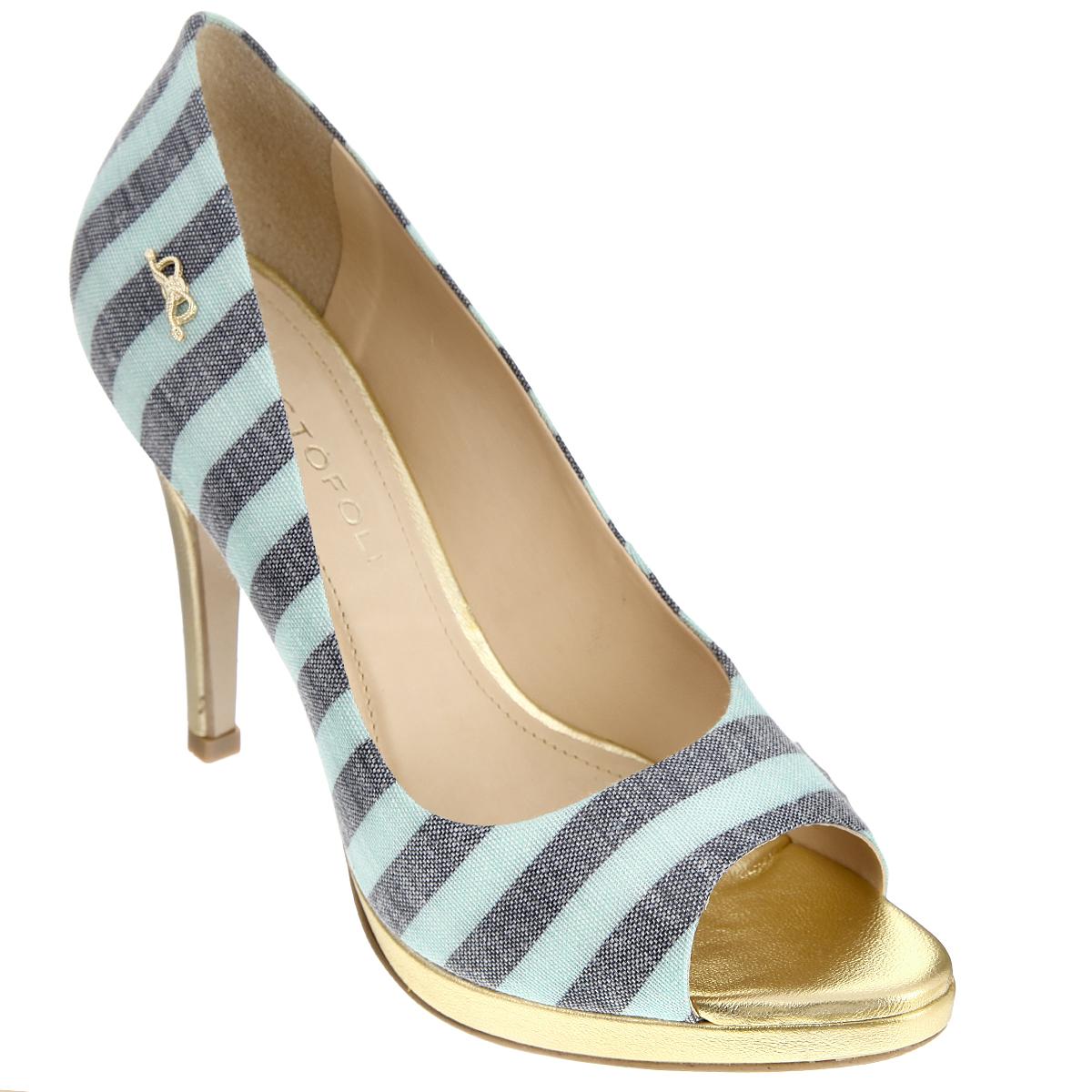 150413Изысканные женские туфли от Cristofoli займут достойное место среди вашей коллекции обуви. Модель изготовлена из плотного высококачественного текстиля и оформлена узором в полоску. Сбоку изделие украшено декоративным элементом в виде бантика, выполненного из металла. Открытый носок добавит женственные нотки в ваш образ. Подкладка и стелька из натуральной кожи обеспечивают комфорт при движении. Ультравысокий каблук компенсирован платформой. Подошва дополнена противоскользящим рифлением. Роскошные туфли помогут вам создать неповторимый образ.