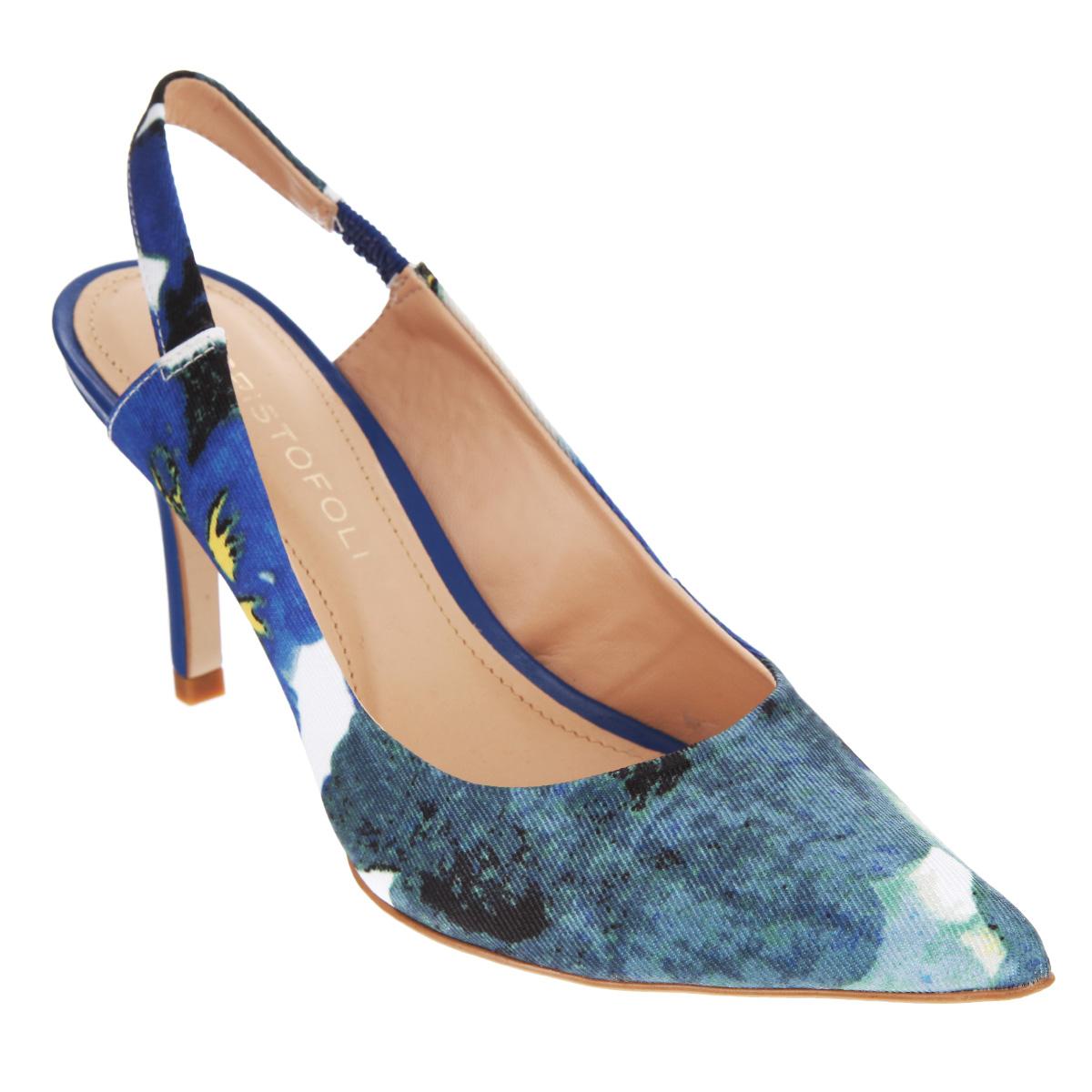 Туфли женские. 150416150416Модные женские туфли от Cristofoli заинтересуют вас своим дизайном. Модель выполнена из высококачественного текстиля и оформлена оригинальным принтом. Ремешок, дополненный резинкой, прочно зафиксирует обувь на вашей щиколотке. Мягкая стелька и подкладка из натуральной кожи обеспечивают комфорт при движении. Подошва дополнена противоскользящим рифлением. Роскошные туфли помогут вам создать неповторимый образ.