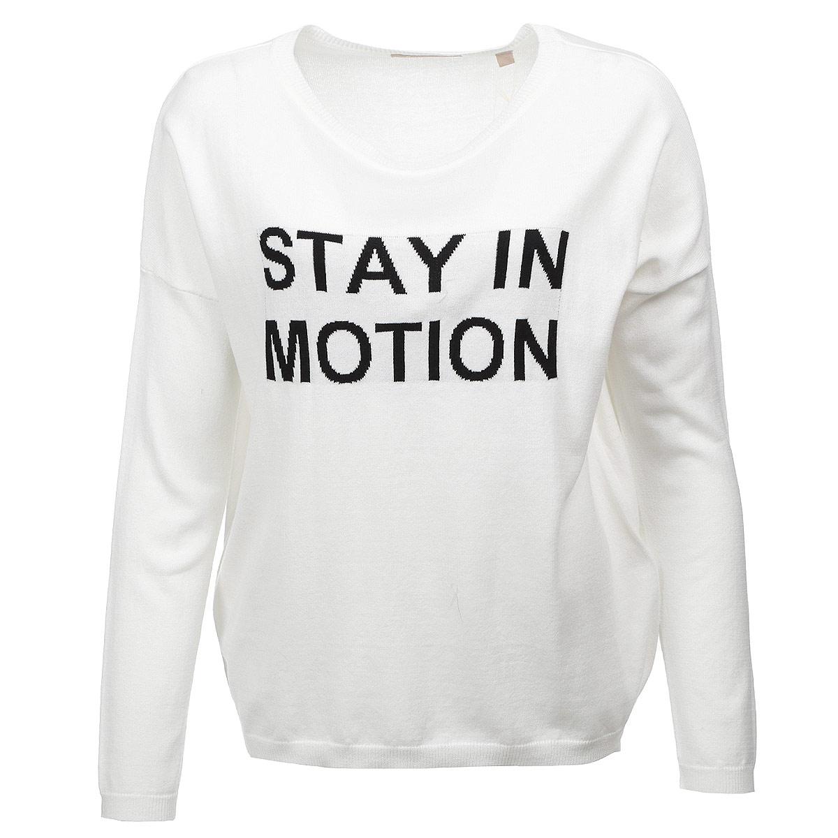 Пуловер10152392 01AСтильный женский пуловер Broadway, изготовленный из хлопка и полиакрила, не сковывает движения, обеспечивая наибольший комфорт. Модель свободного кроя с круглым воротником и рукавами-кимоно на груди оформлена надписью Stay in motion. Горловина, манжеты и низ изделия отделаны резинкой. Этот пуловер - идеальный вариант для создания зимнего образа в стиле Casual.