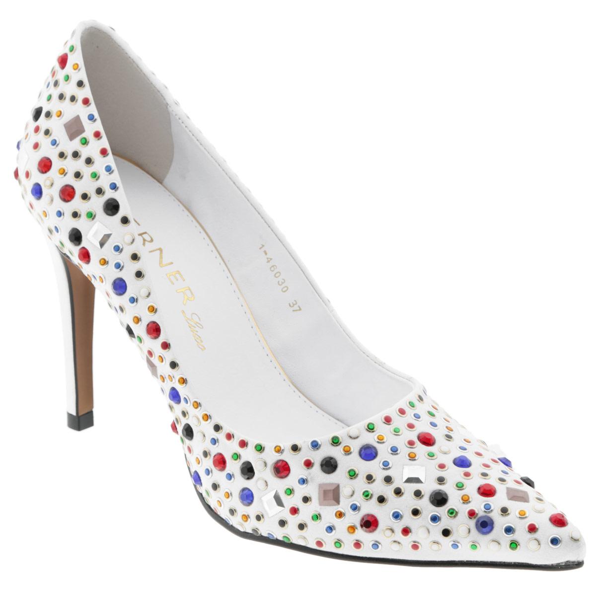 Туфли женские. 1-460301-46030Яркие женские туфли на шпильке от Werner прекрасно подчеркнут ваш стиль. Верх модели выполнен из текстильного материала и оформлен цветными стразами и декоративными клепками. Внутренняя часть и стелька из натуральной кожи гарантируют комфорт и удобство при ходьбе. Высокий каблук подчеркнет красоту и стройность ваших ног. Подошва выполнена из прочного полимера с противоскользящим рифлением. Такие туфли станут прекрасным дополнением вашего гардероба. Они сделают вас ярче и подчеркнут вашу индивидуальность!