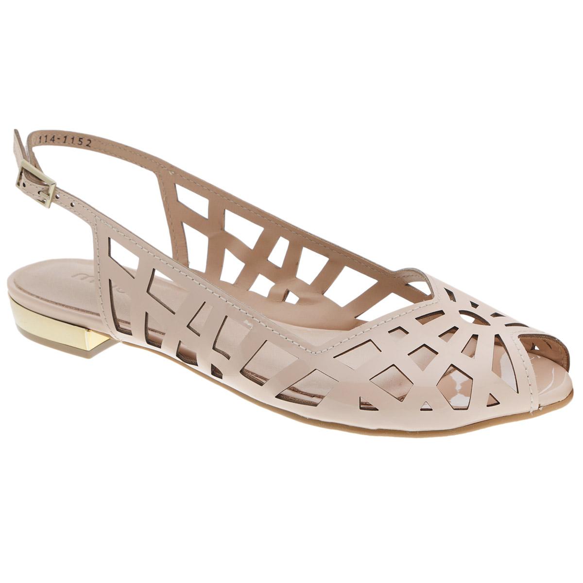 Босоножки. 114-1152114-1152Стильные босоножки от Miucha займут достойное место среди вашей коллекции летней обуви. Модель выполнена из натуральной лакированной кожи и оформлена крупным перфорированным узором. Носок с V-образным вырезом и открытый задник обеспечивают дополнительную вентиляцию, позволяют ногам дышать. Ремешок с металлической пряжкой прямоугольной формы отвечает за надежную фиксацию модели на ноге. Длина ремешка регулируется за счет болта. Стелька из натуральной кожи гарантирует комфорт при ходьбе. Верхняя часть каблука декорирована по контуру золотистой вставкой. Рифление на каблуке и на подошве защищает изделие от скольжения. Прелестные босоножки очаруют вас своим дизайном с первого взгляда.